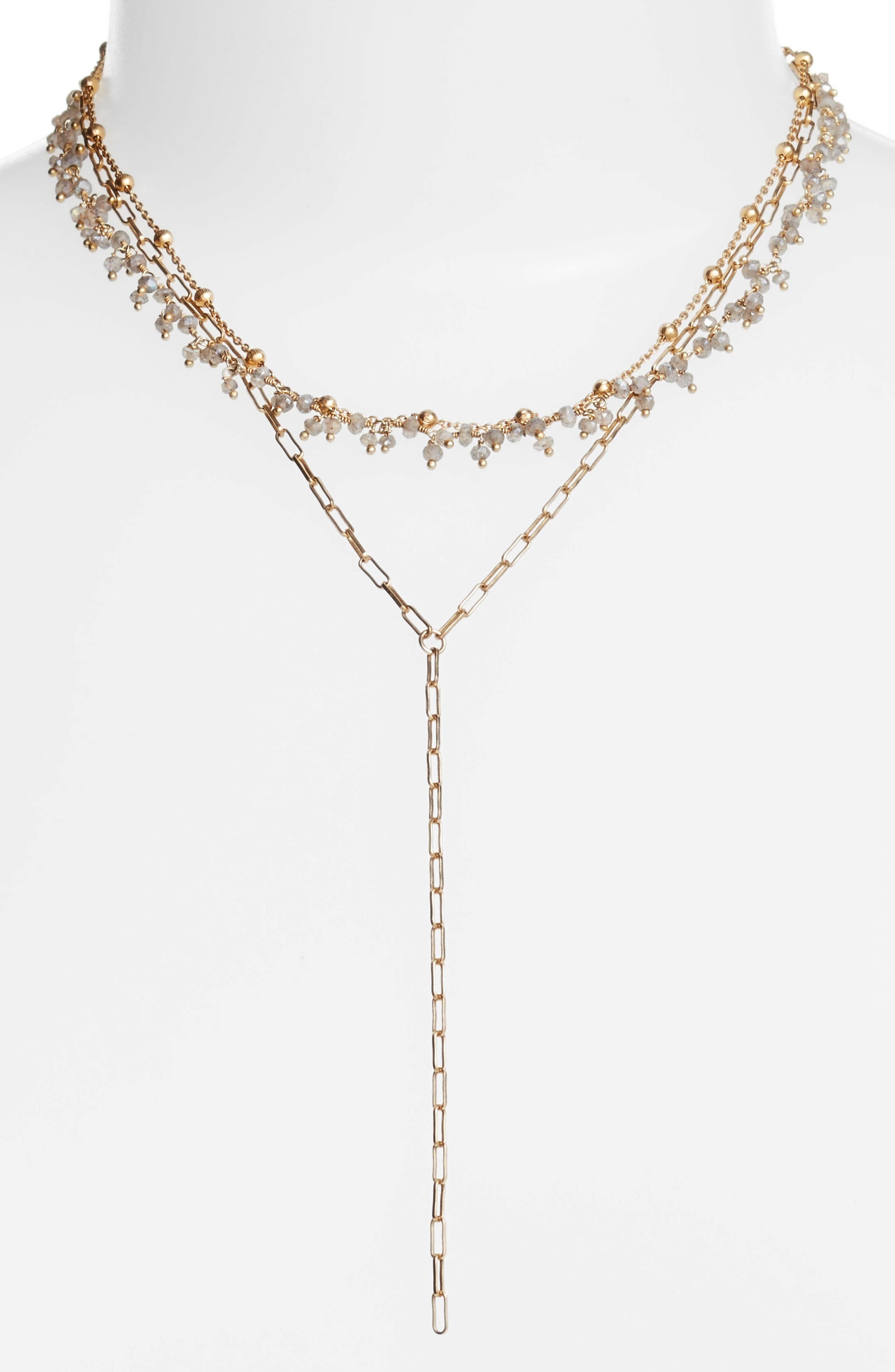 Multistrand Semiprecious Stone Necklace,                         Main,                         color, Mystic Labradorite