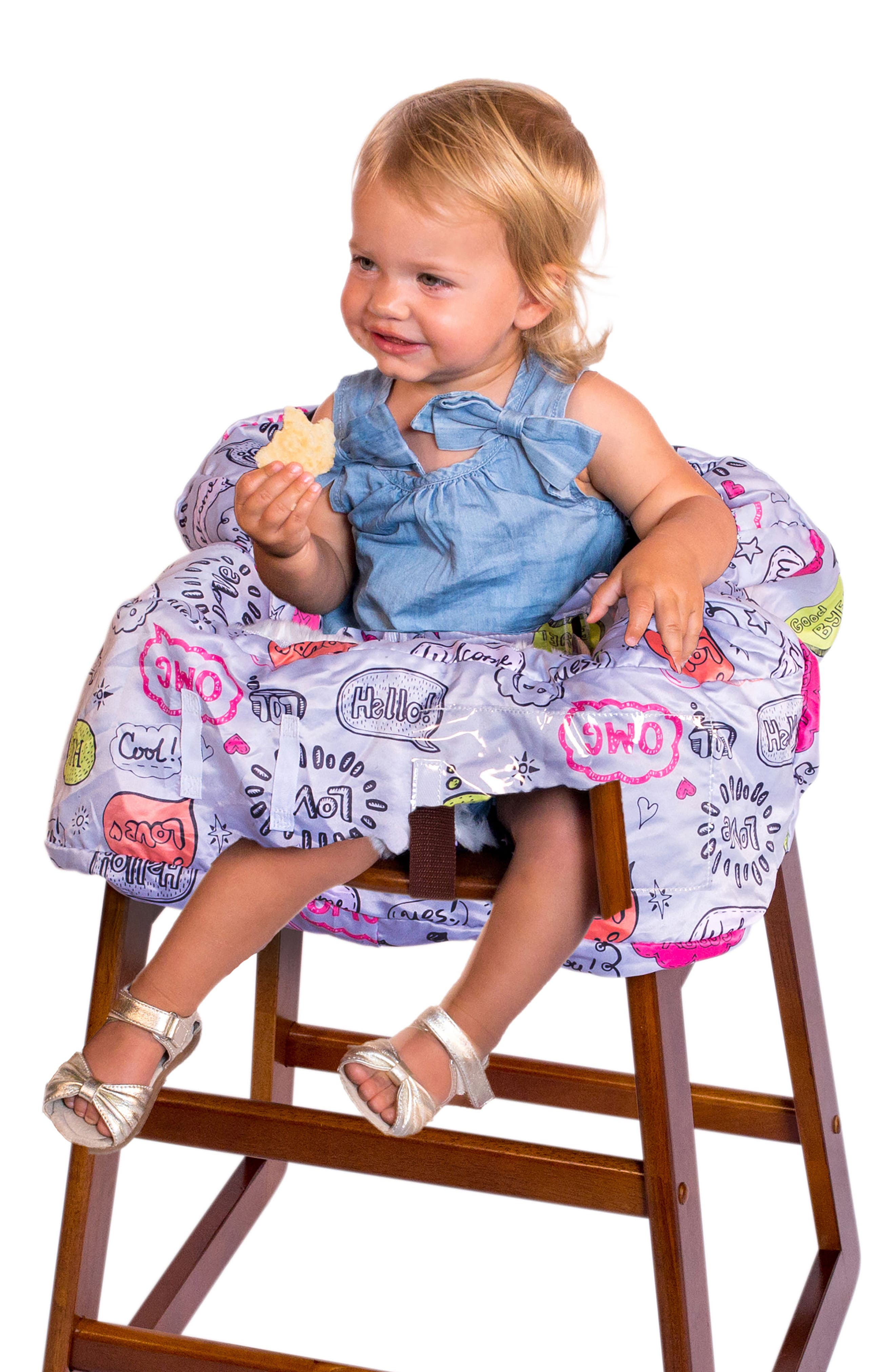 Highchair/Shopping Cart Cover,                             Alternate thumbnail 4, color,                             Grey Text Bubble