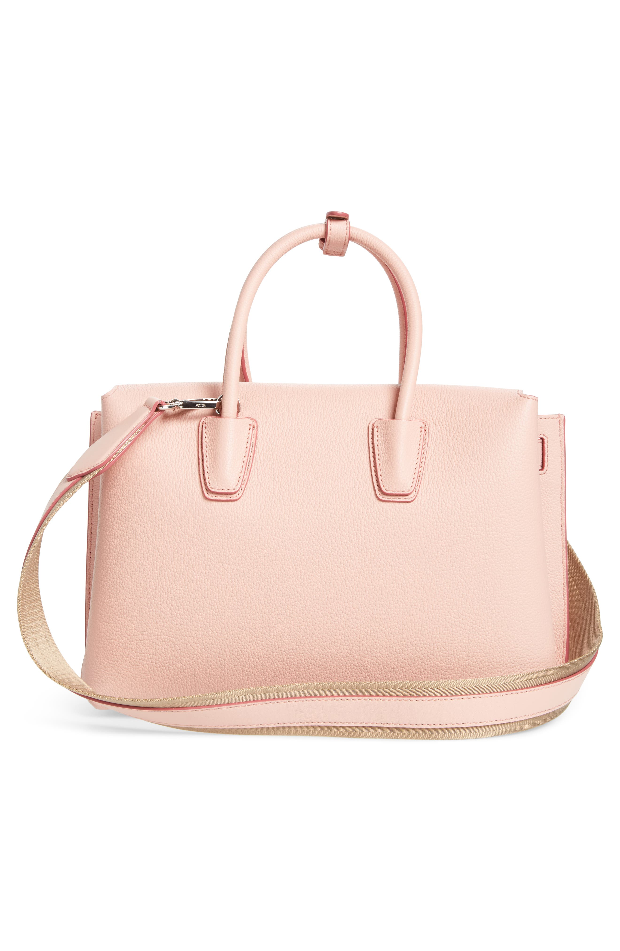 Medium Milla Leather Tote,                             Alternate thumbnail 3, color,                             Pink Blush