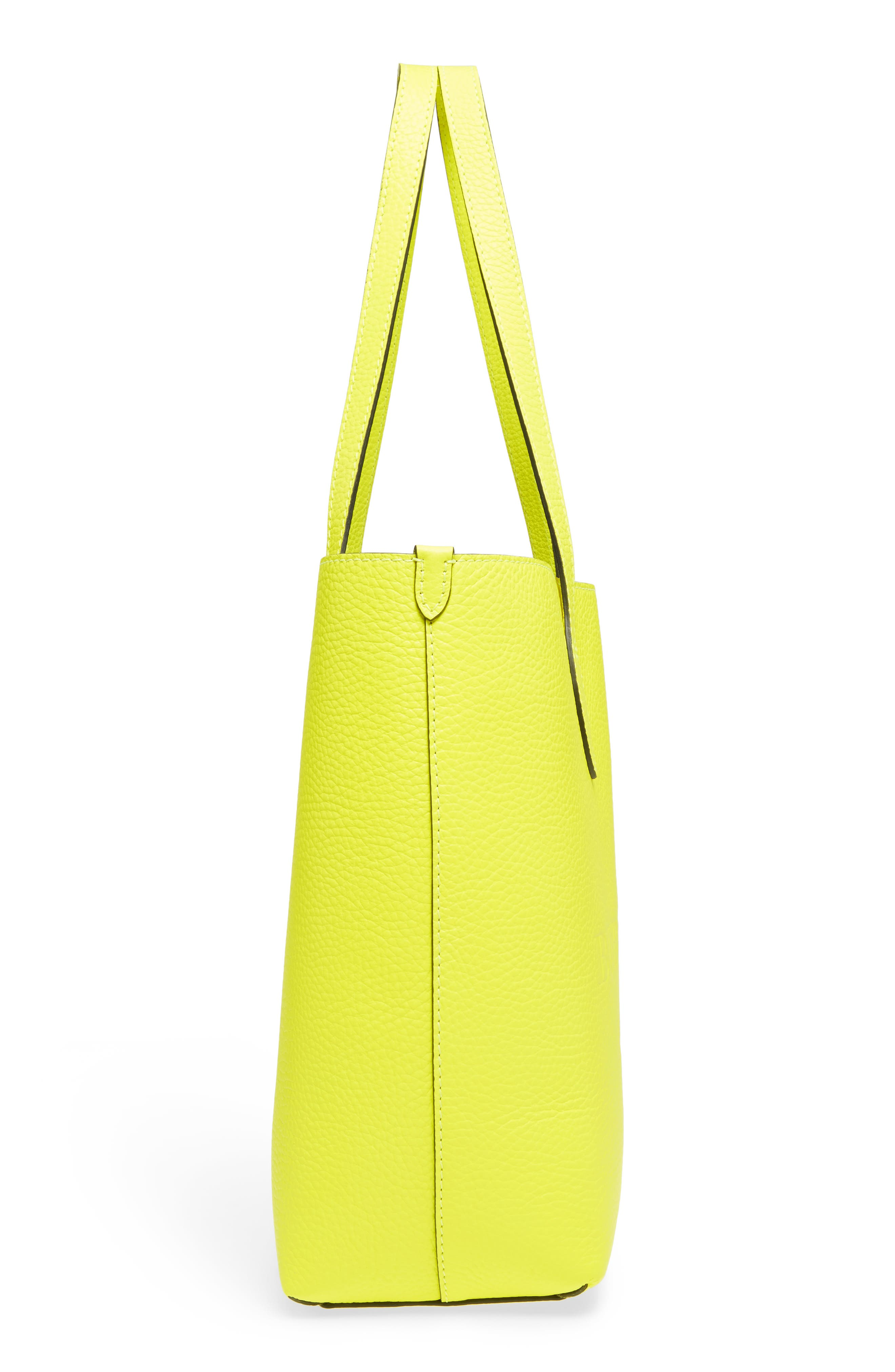 Large Remington Logo Leather Tote,                             Alternate thumbnail 5, color,                             Neon Yellow