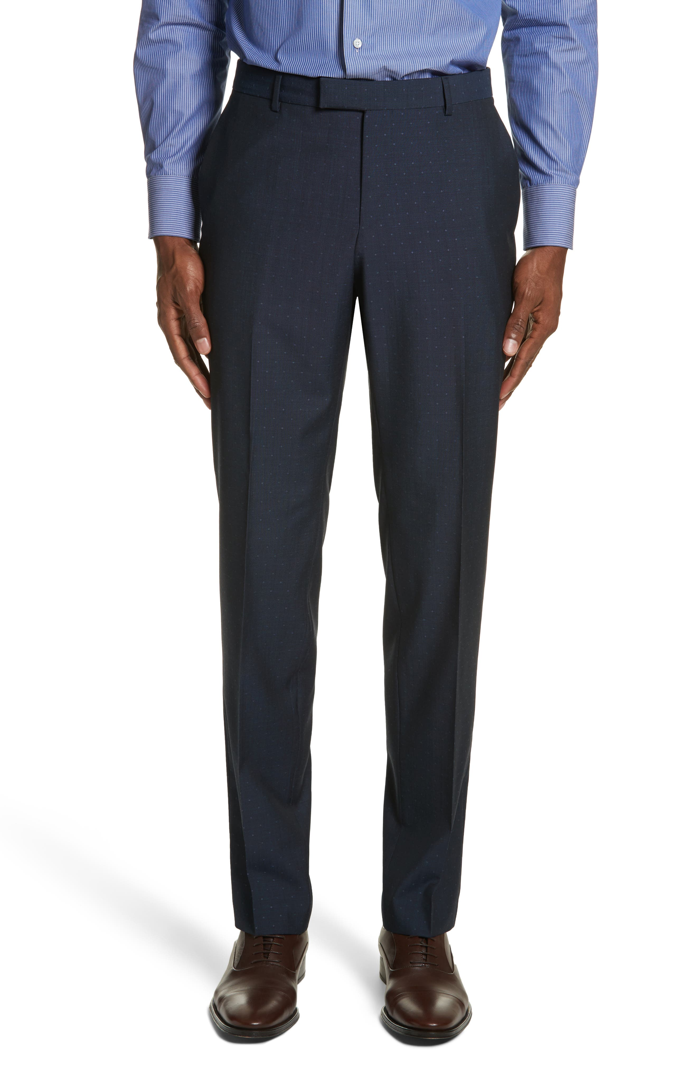 Classic Fit Dot Wool Suit,                             Alternate thumbnail 6, color,                             Navy Check