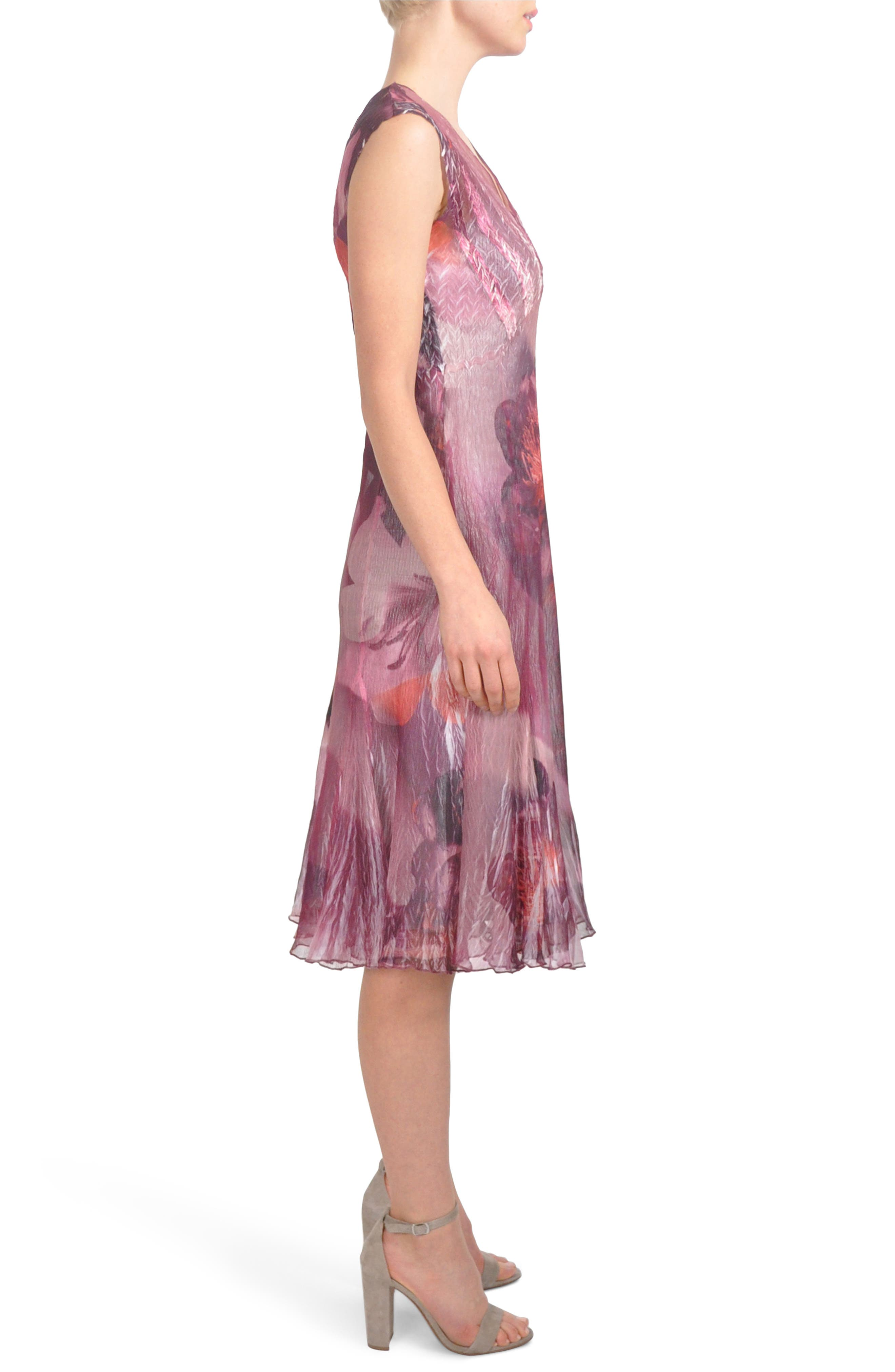 Chiffon Midi Dress,                             Alternate thumbnail 3, color,                             Crimson Peony