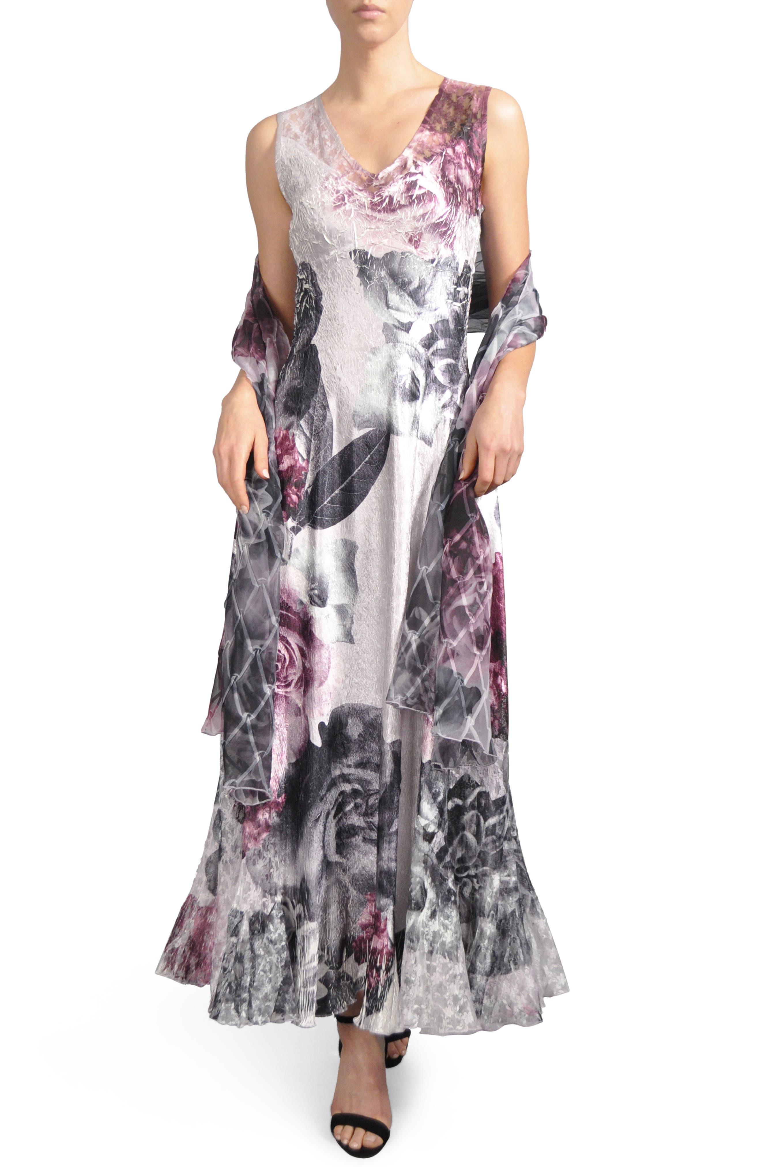 Komorav Lace-Up Back Maxi Dress with Shawl,                         Main,                         color, Veiled Blossom