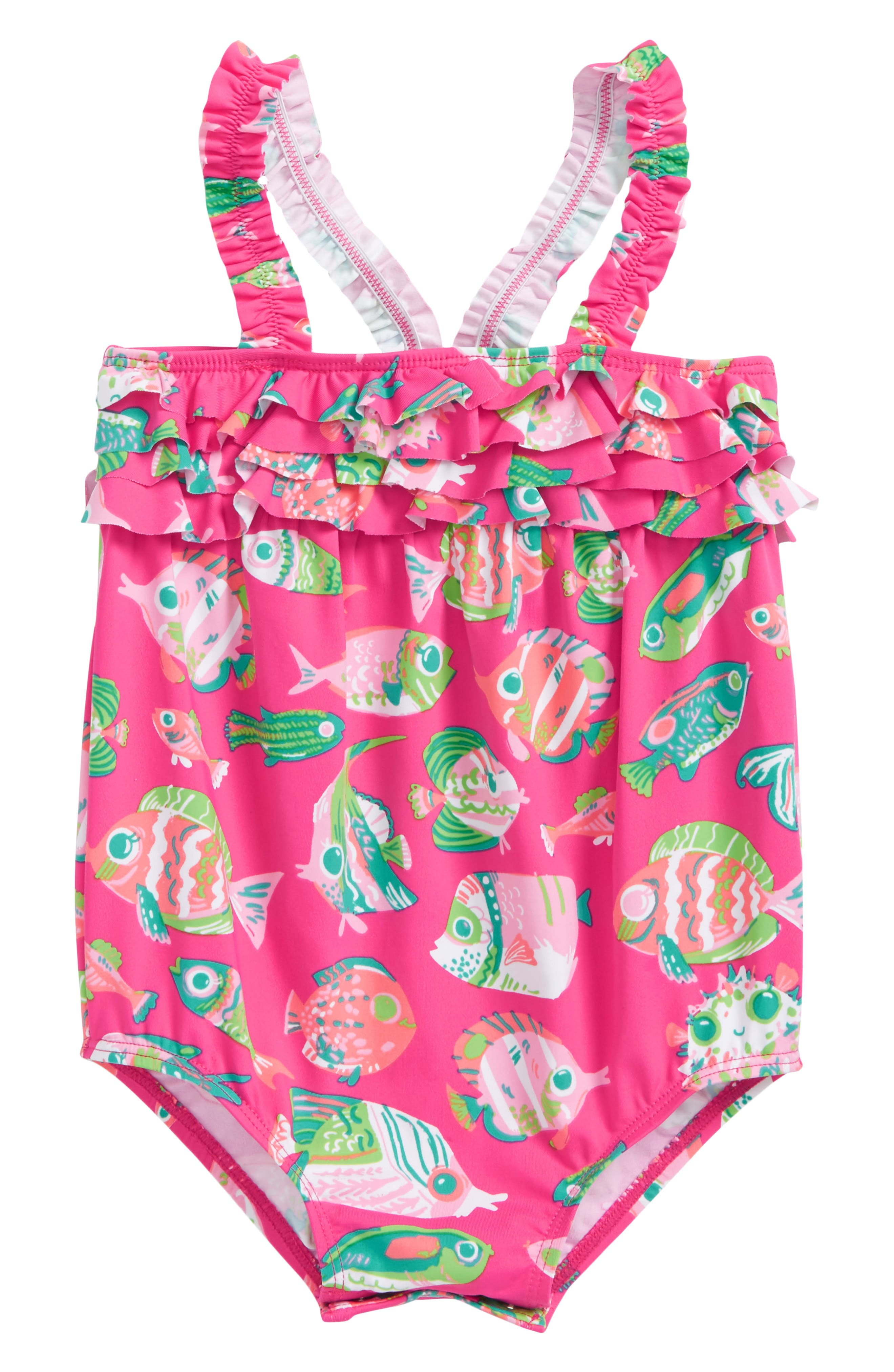 Alternate Image 1 Selected - Hatley Fish One-Piece Swimsuit (Baby Girls)