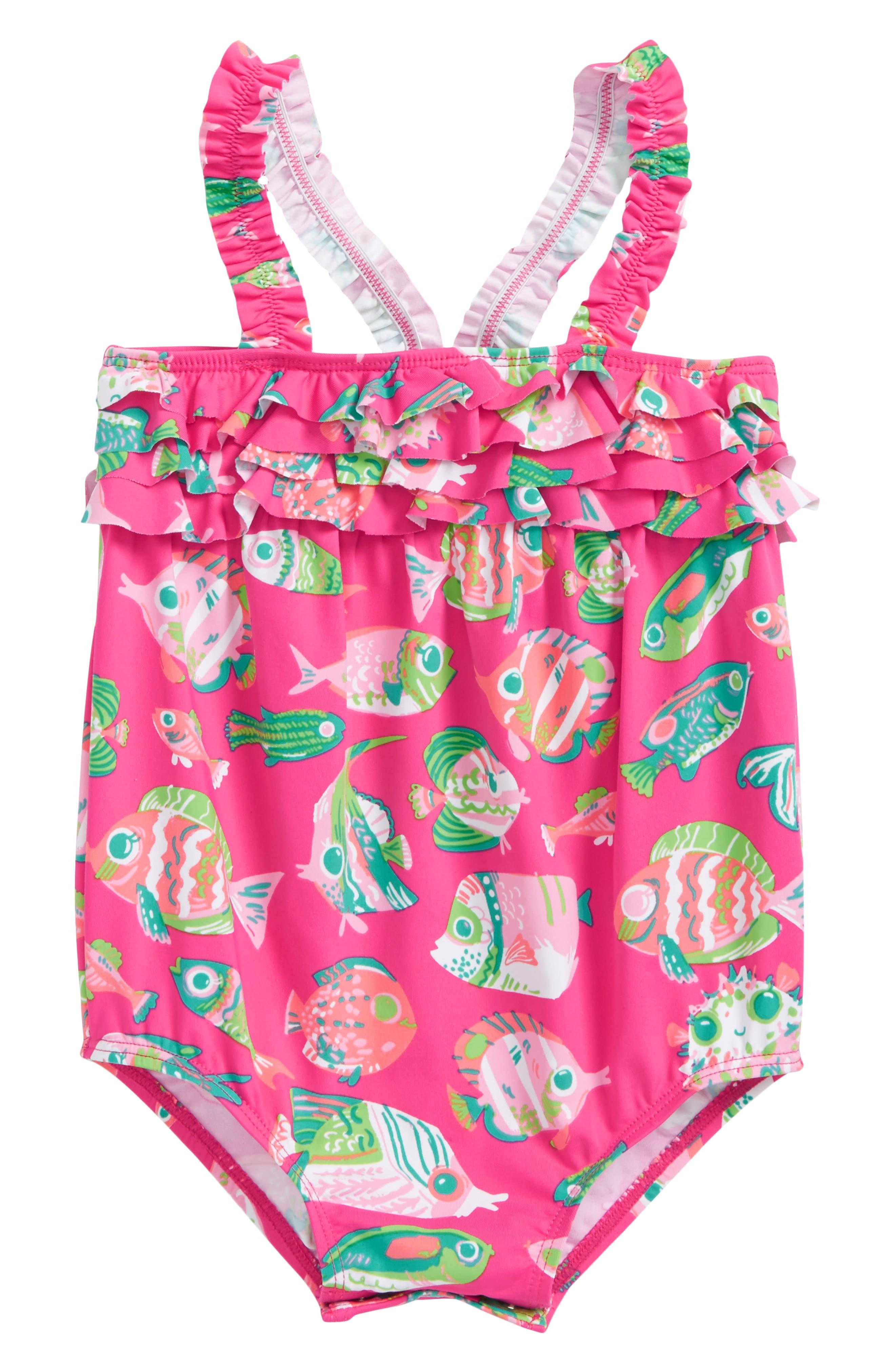 Main Image - Hatley Fish One-Piece Swimsuit (Baby Girls)