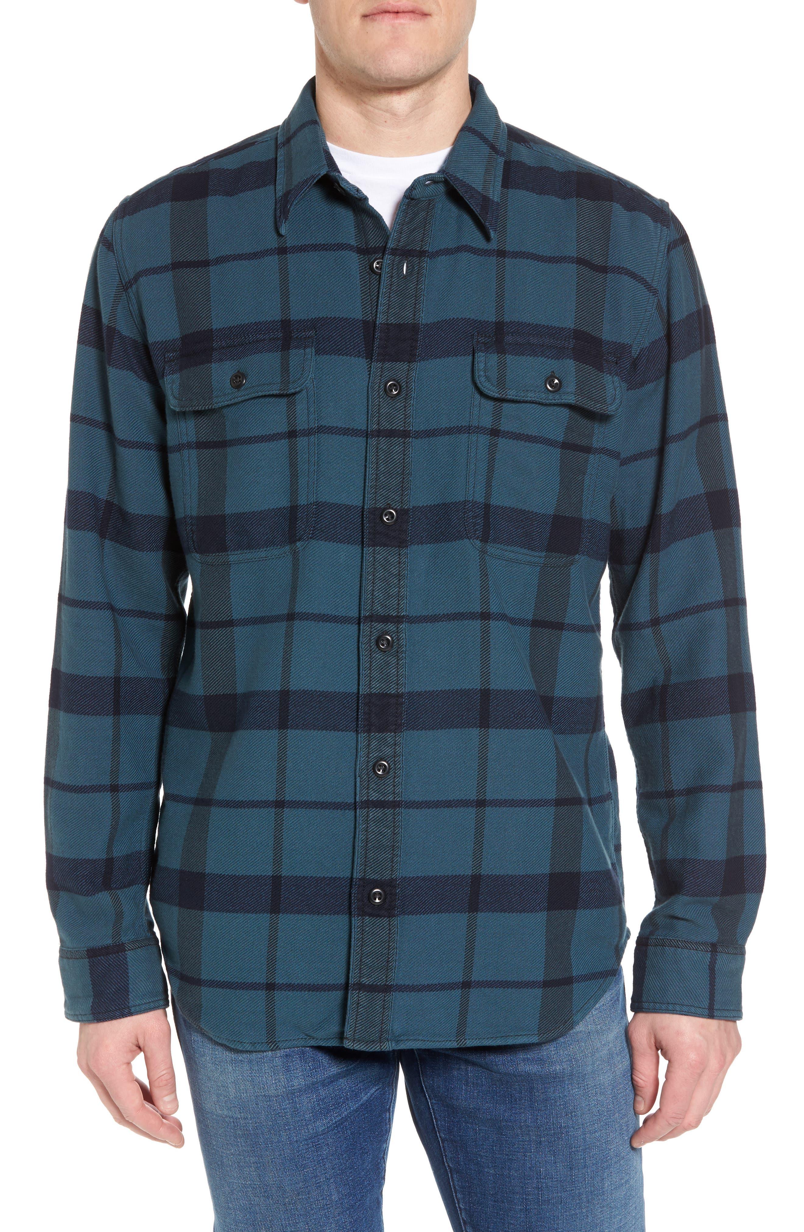 'Vintage Flannel' Regular Fit Plaid Cotton Shirt,                             Main thumbnail 1, color,                             Brown/ Navy