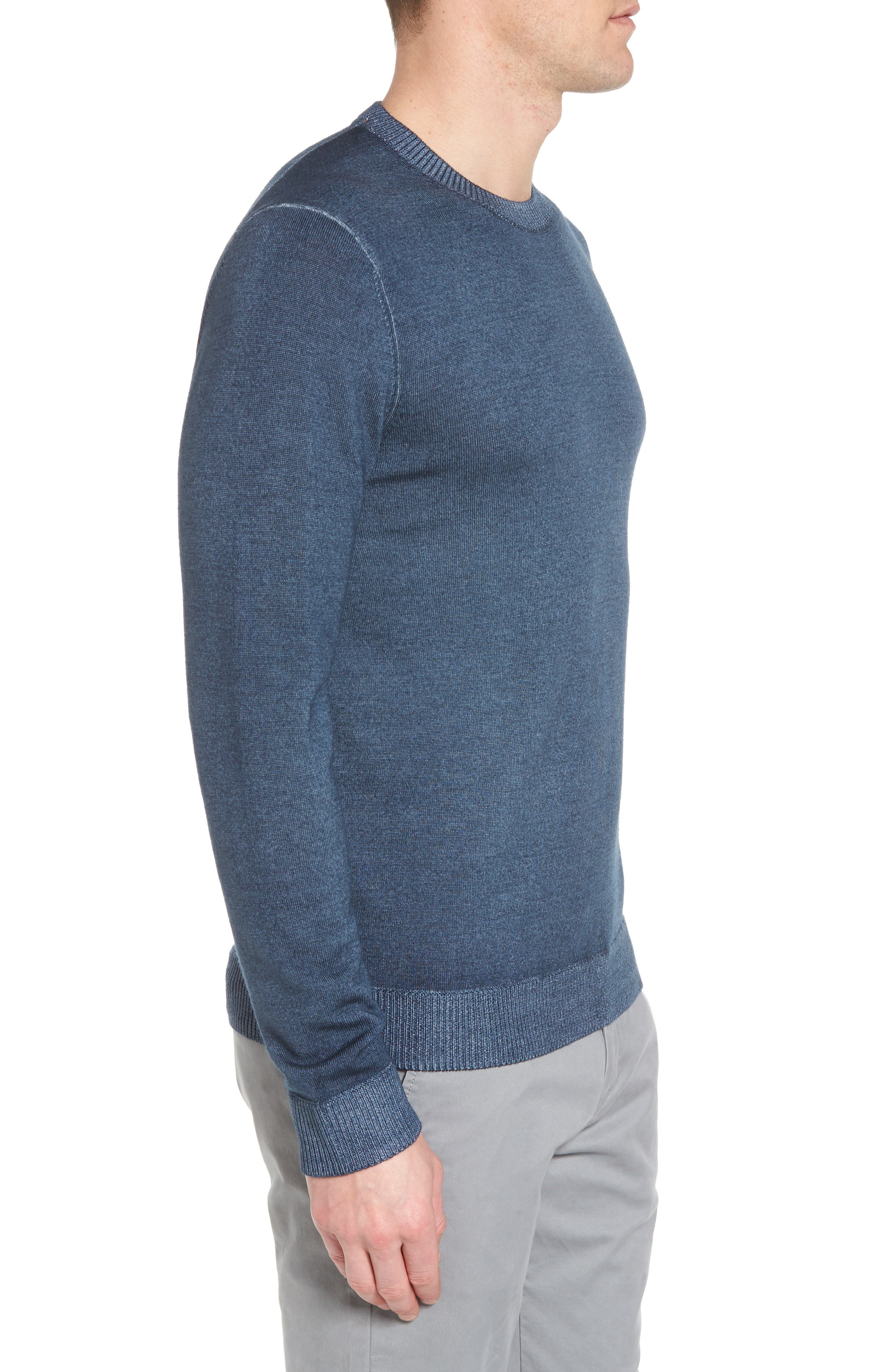 Lucky Trim Fit Wool Sweater,                             Alternate thumbnail 3, color,                             Mid Blue