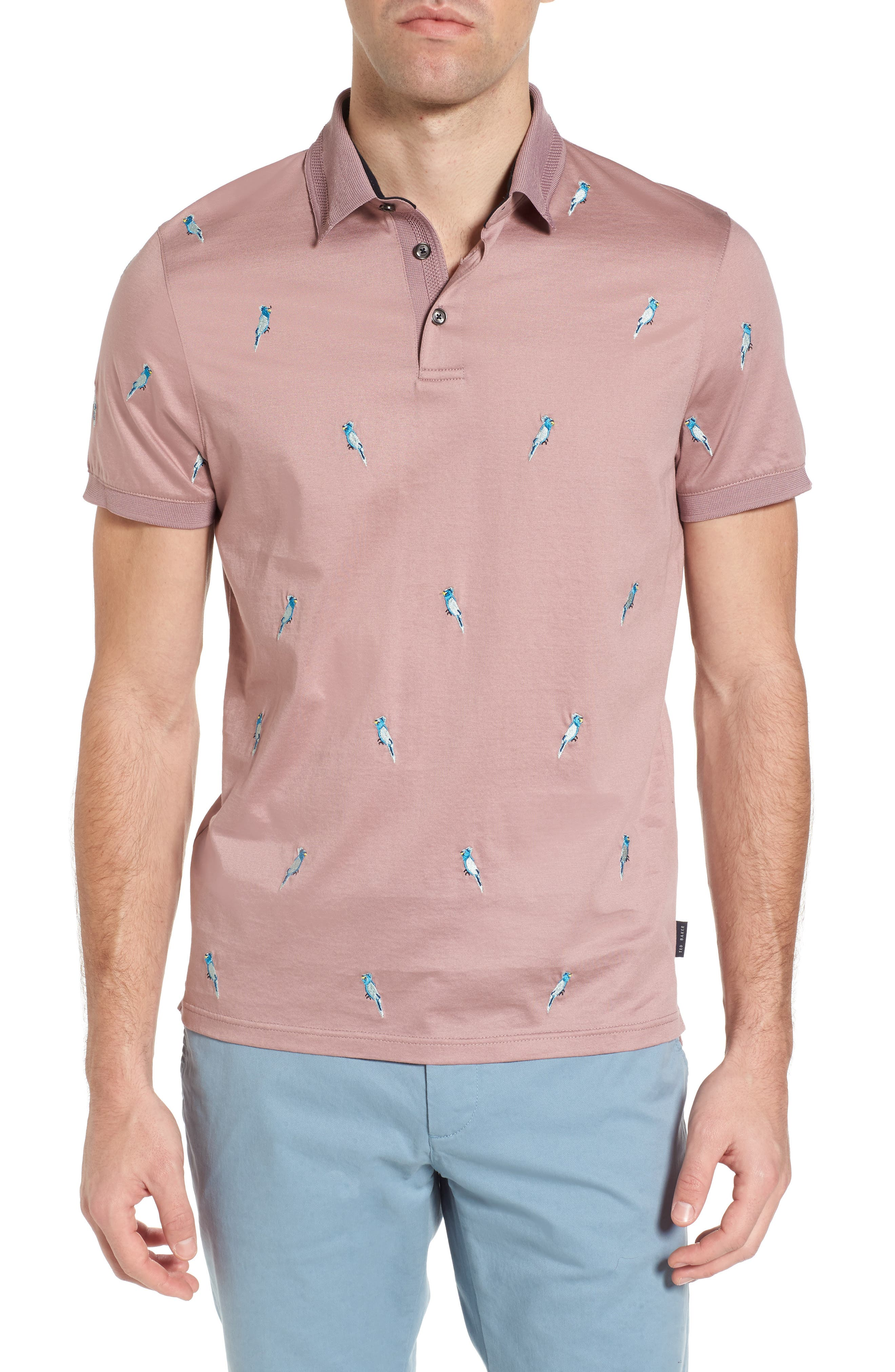 Scraffy Trim Fit Cockatoo Embroidered Polo,                             Main thumbnail 1, color,                             Dusky Pink