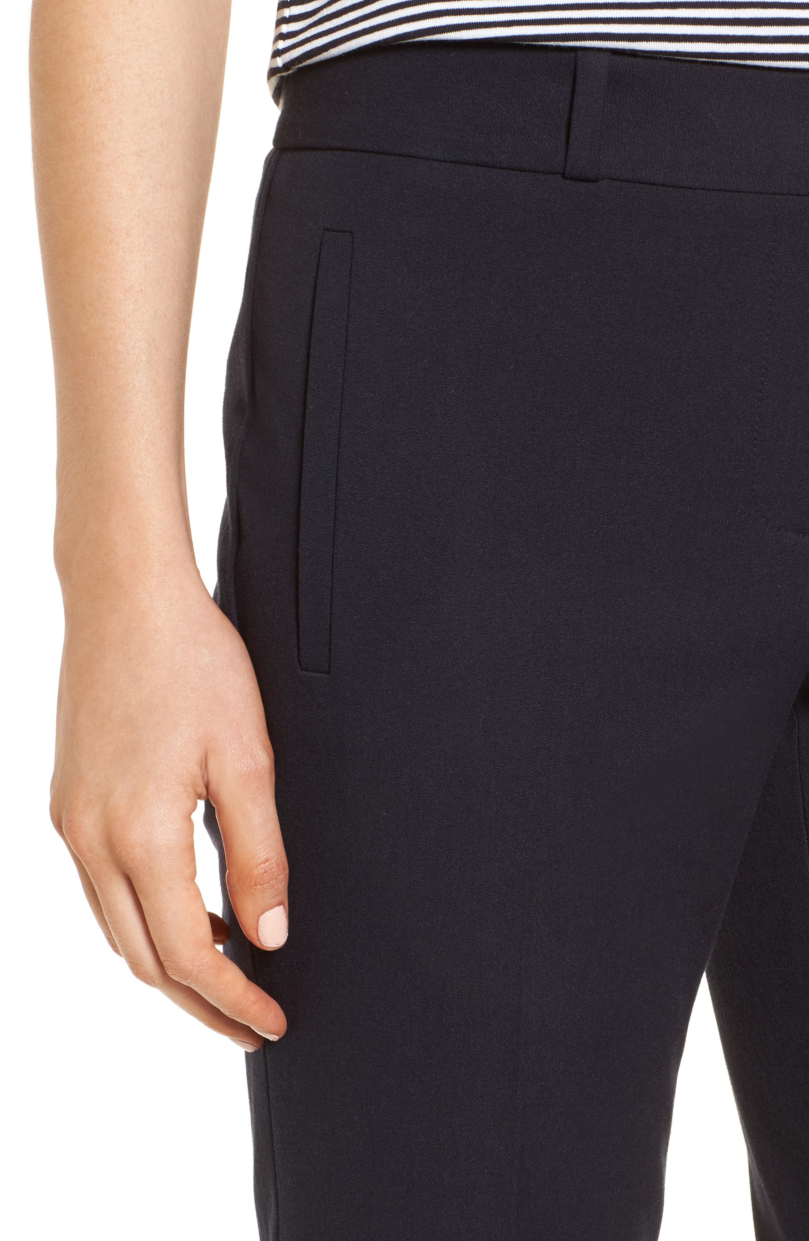 Welt Pocket Slim Leg Crop Pants,                             Alternate thumbnail 4, color,                             Navy Night