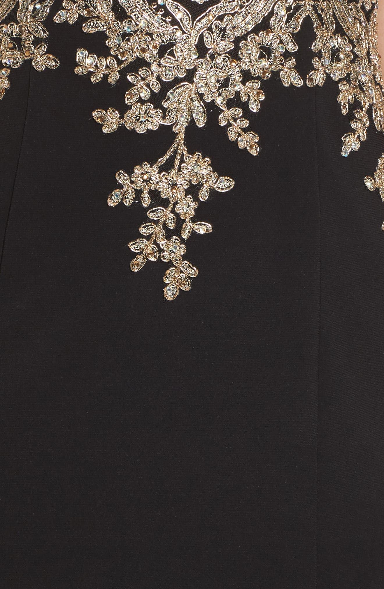 Corset Back Embellished Strapless Gown,                             Alternate thumbnail 5, color,                             Black/ Gold