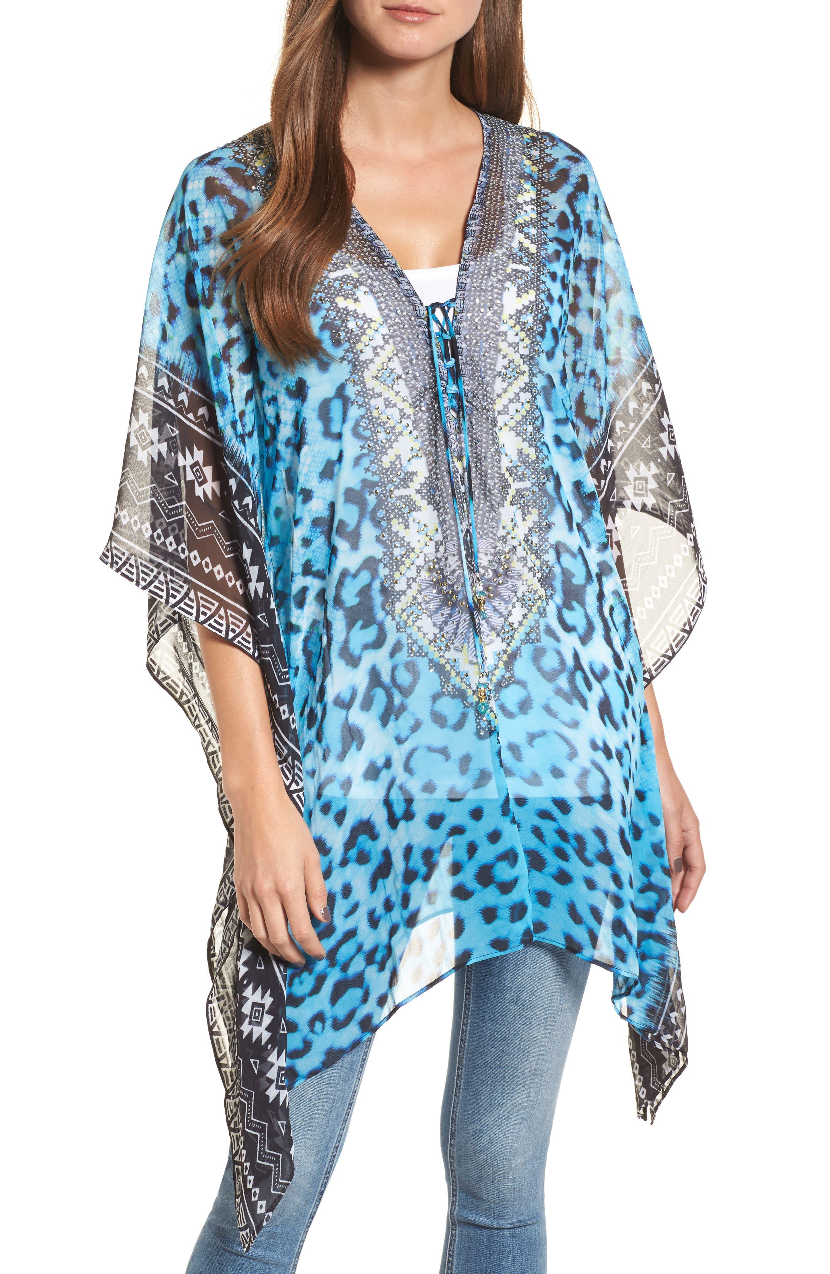 Cairo Short Kaftan,                             Main thumbnail 1, color,                             Blue Leopard Multi