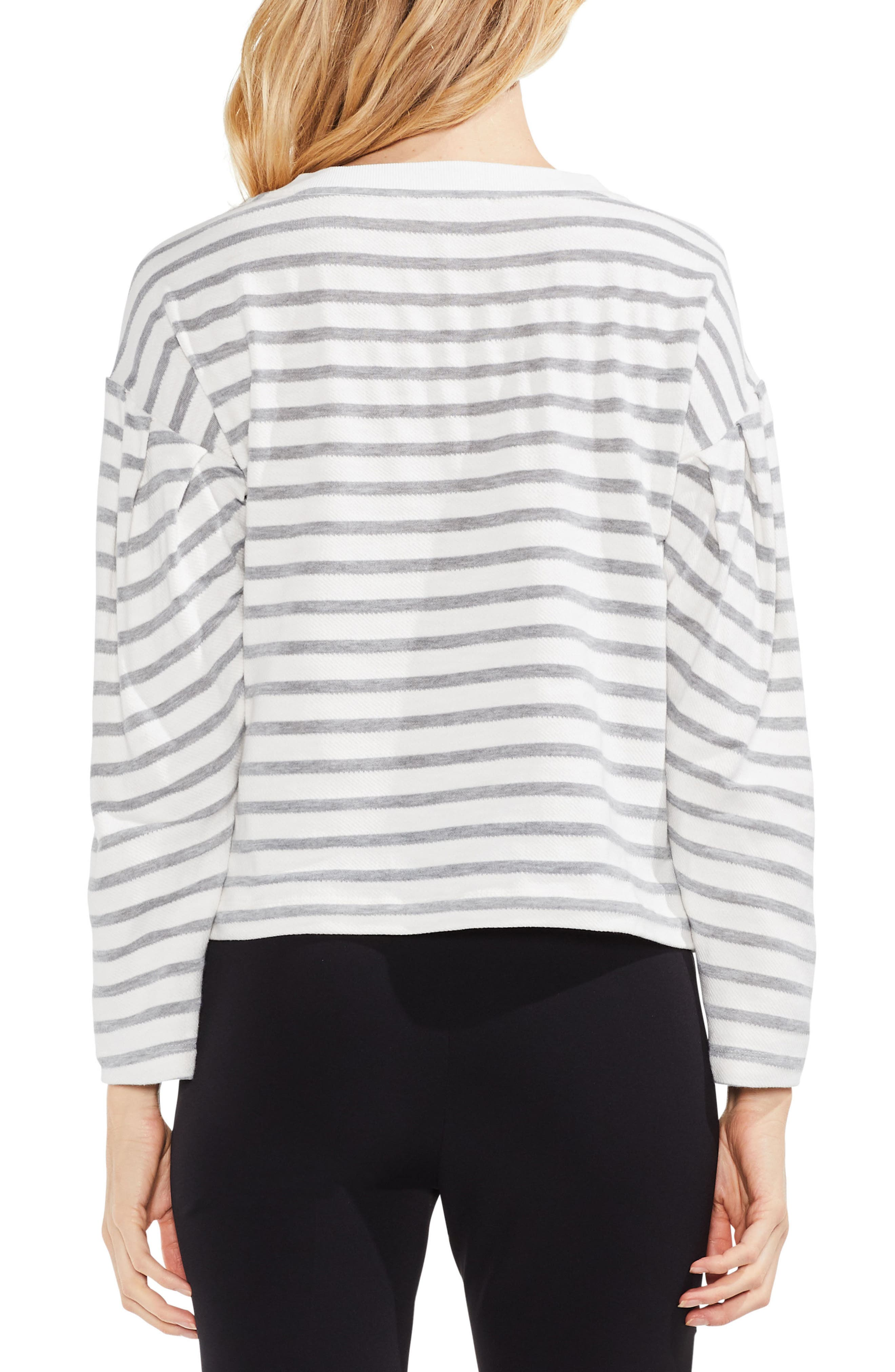 Stripe Drop Shoulder Top,                             Alternate thumbnail 3, color,                             Grey Heather
