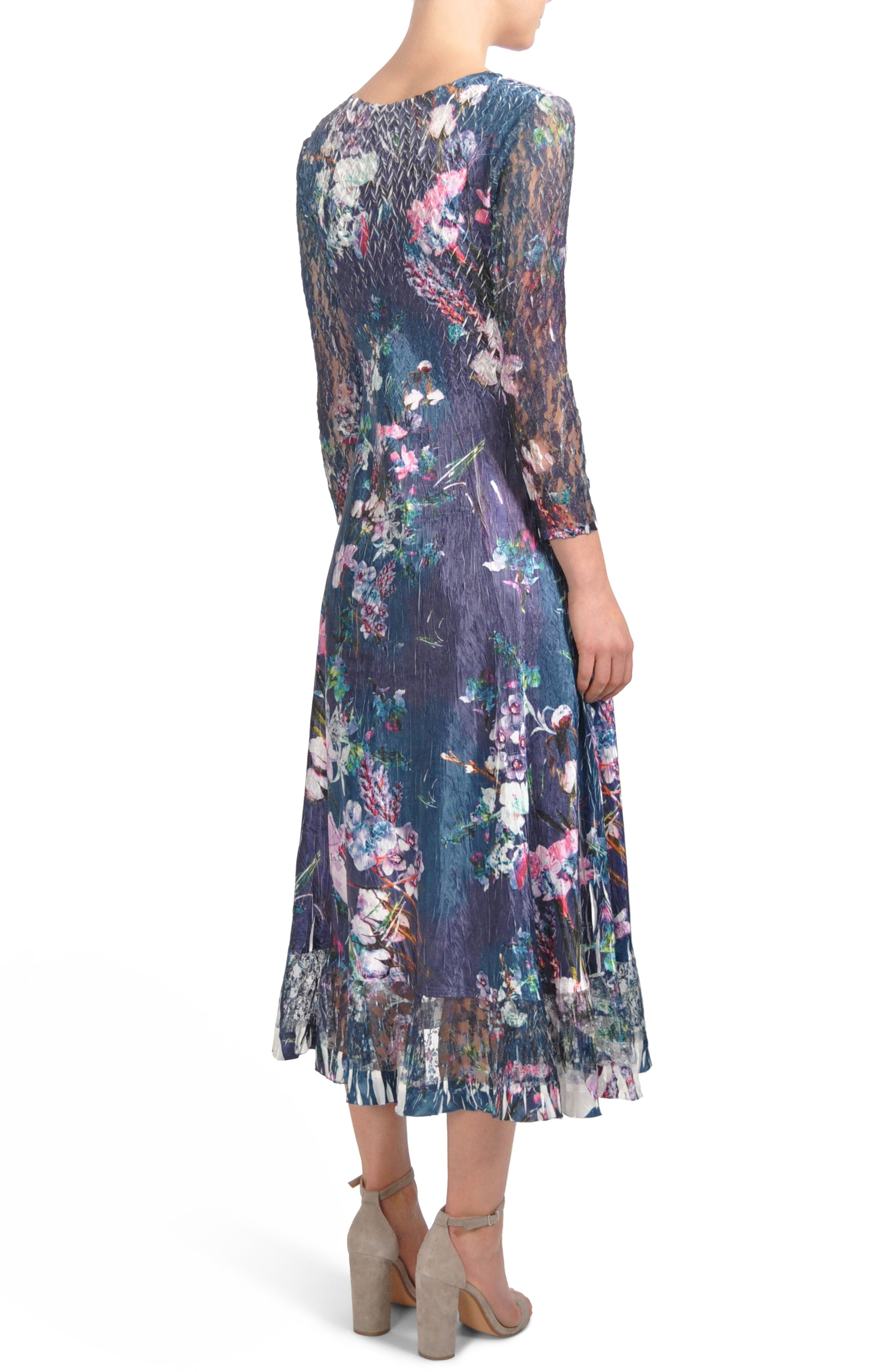 Lace Inset Print Charmeuse A-Line Dress,                             Alternate thumbnail 2, color,                             Pixel Meadow