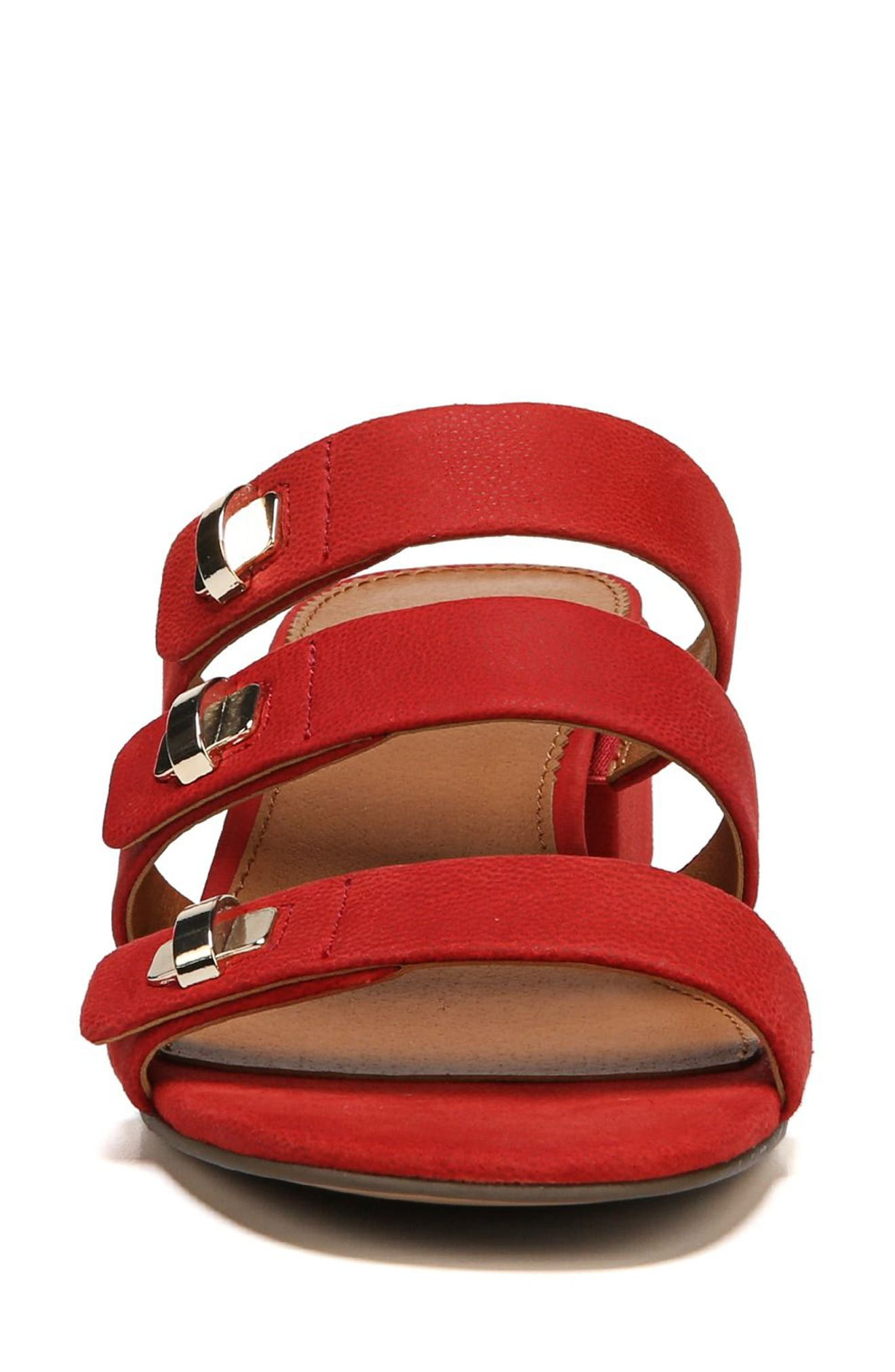 Arabesque Strappy Slide Sandal,                             Alternate thumbnail 4, color,                             Pop Red Nubuck