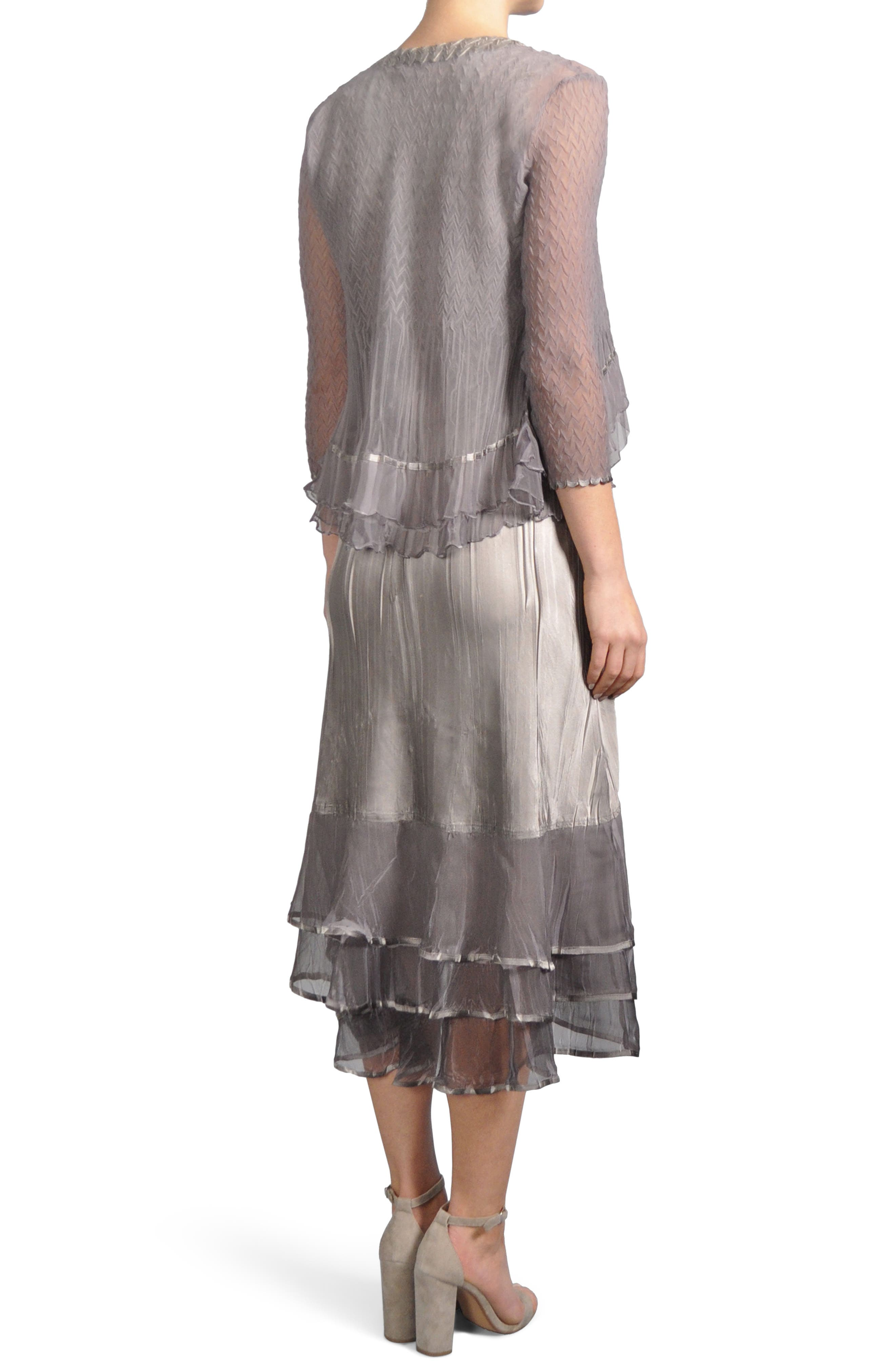 Embellished Tiered Hem Dress With Jacket,                             Alternate thumbnail 3, color,                             Oyster Smoke Ombre