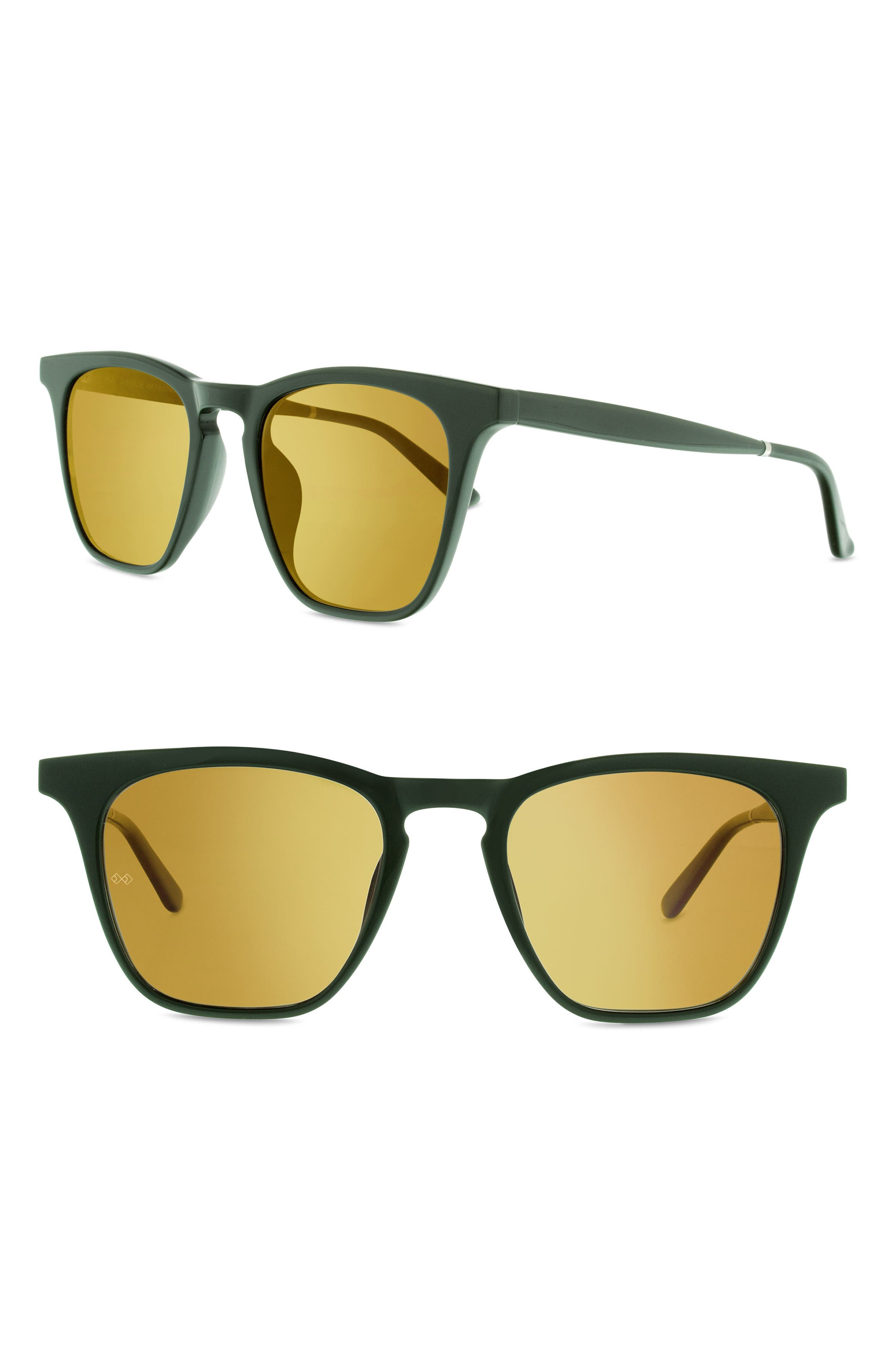 Rocket 88 50mm Square Sunglasses,                         Main,                         color, Green/ Gold Mirror