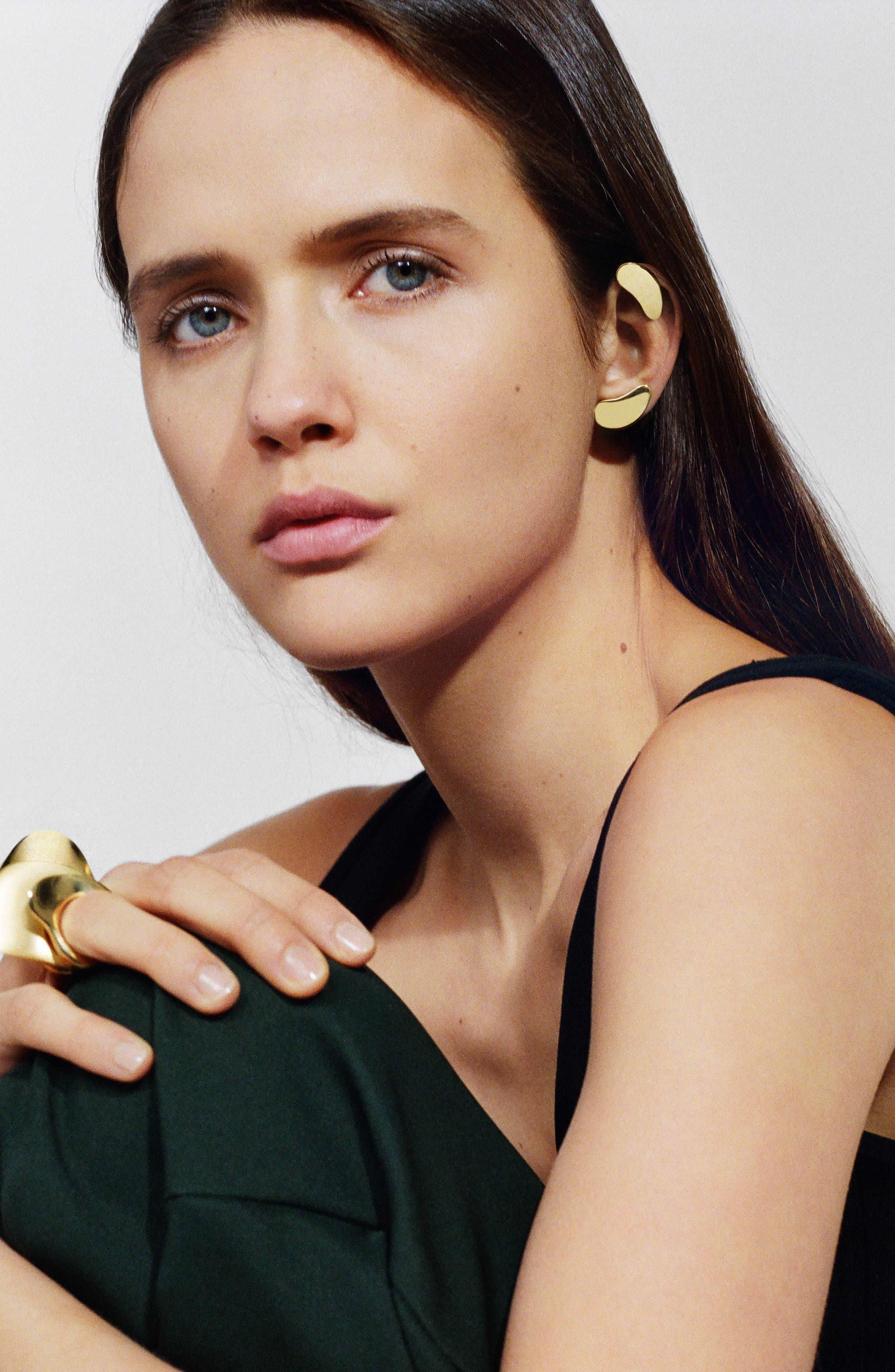 'Nues' Vermeil Clip Earrings,                             Alternate thumbnail 2, color,                             Vermeil