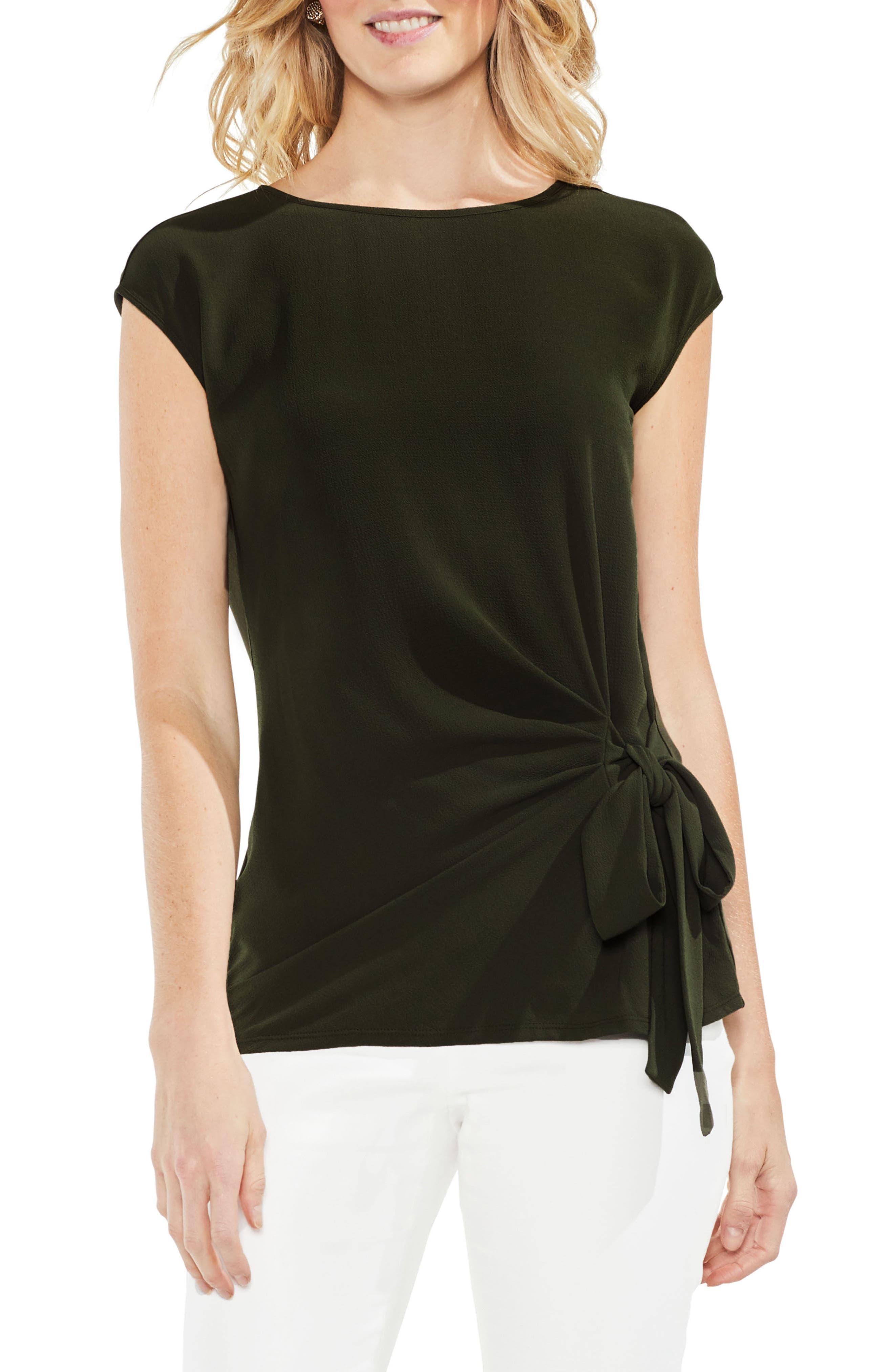 Tie Front Blouse,                         Main,                         color, Rich Olive