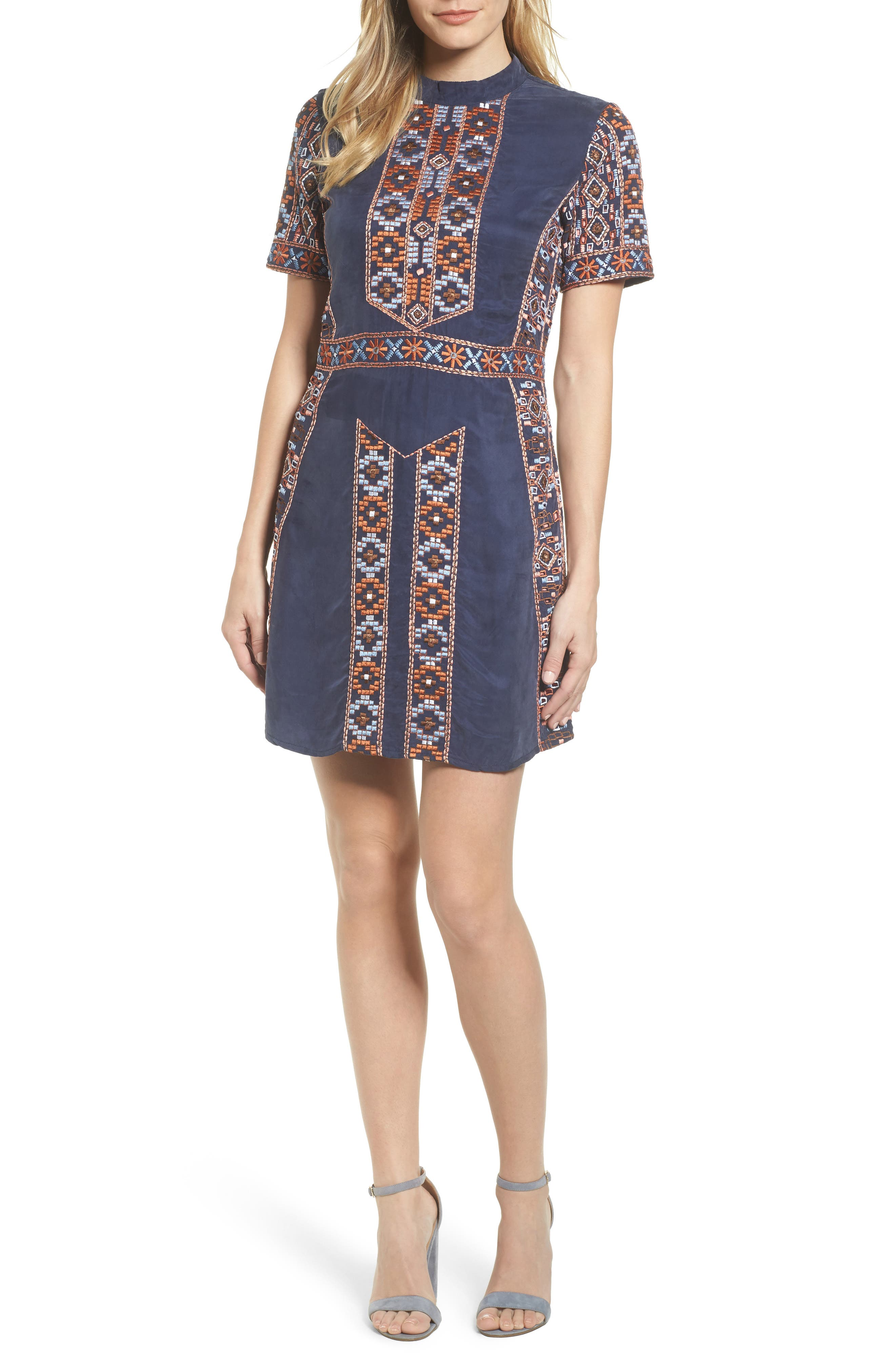Luton Embroidered A-Line Dress,                             Main thumbnail 1, color,                             Navy
