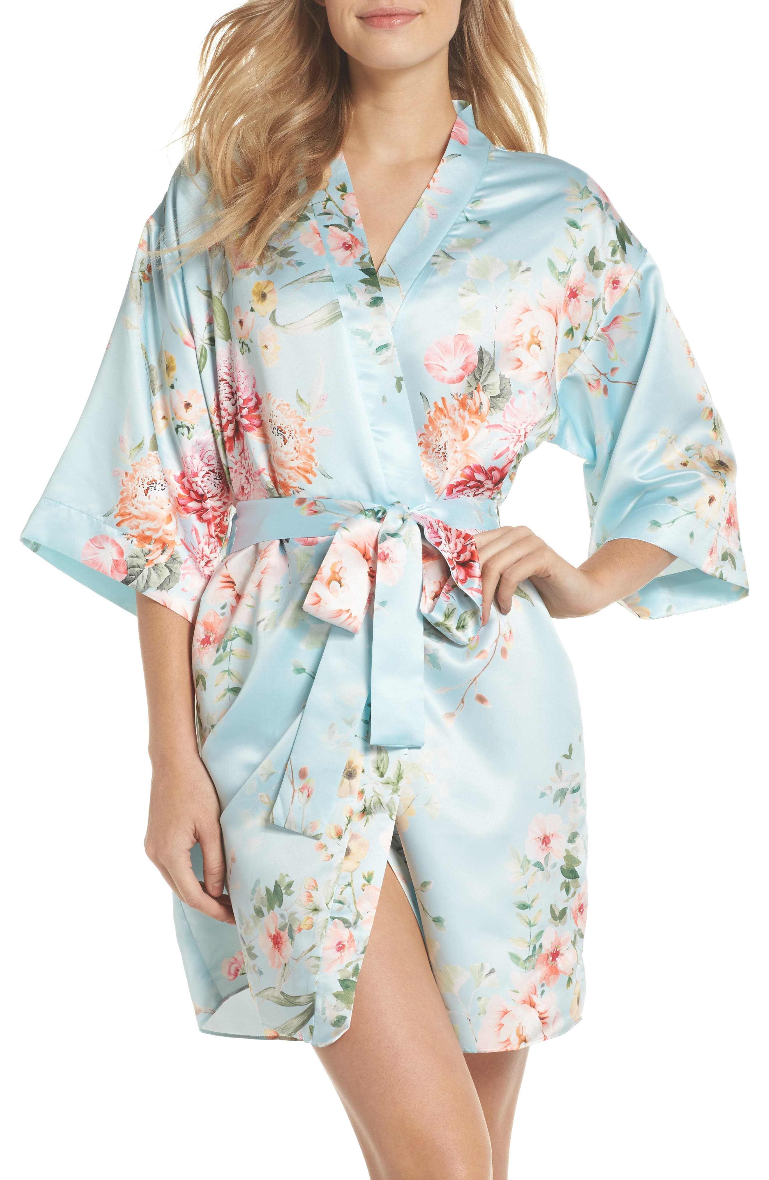Renata Short Satin Robe,                             Main thumbnail 1, color,                             Bridal Blue