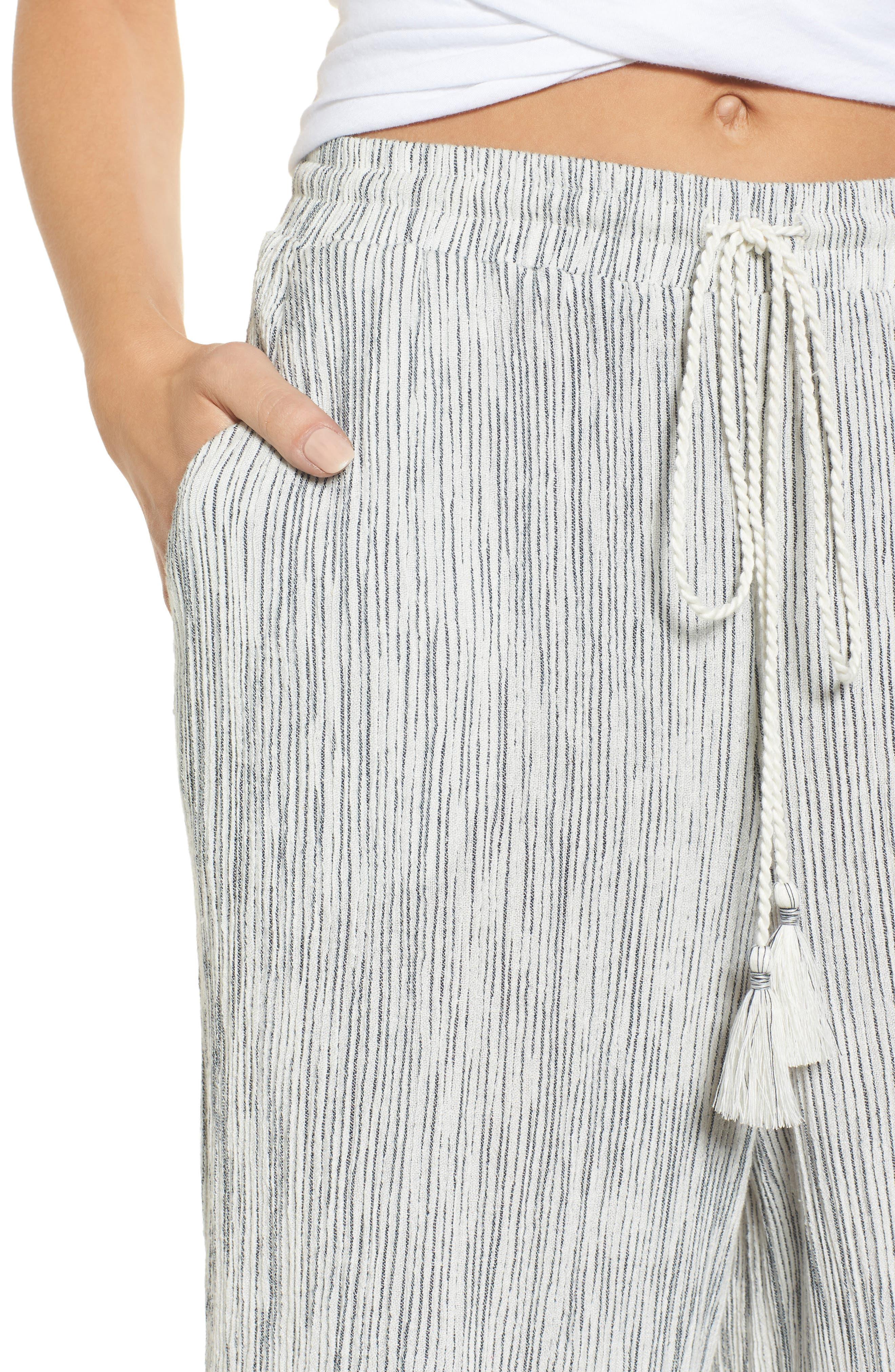 Crinkled Wide Leg Crop Pants,                             Alternate thumbnail 4, color,                             Ivory Angel Stripe