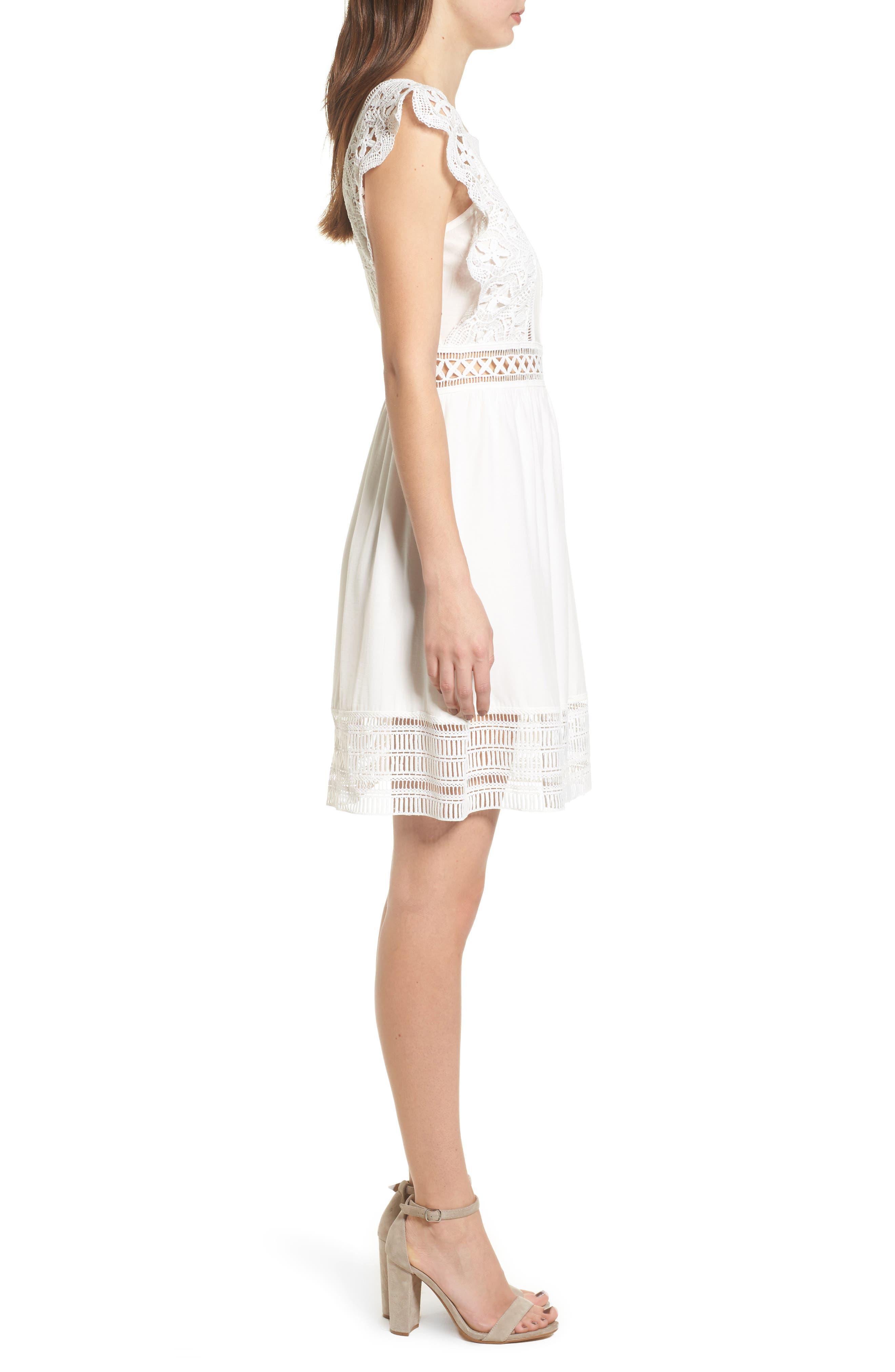 Lace Trim Babydoll Dress,                             Alternate thumbnail 3, color,                             White
