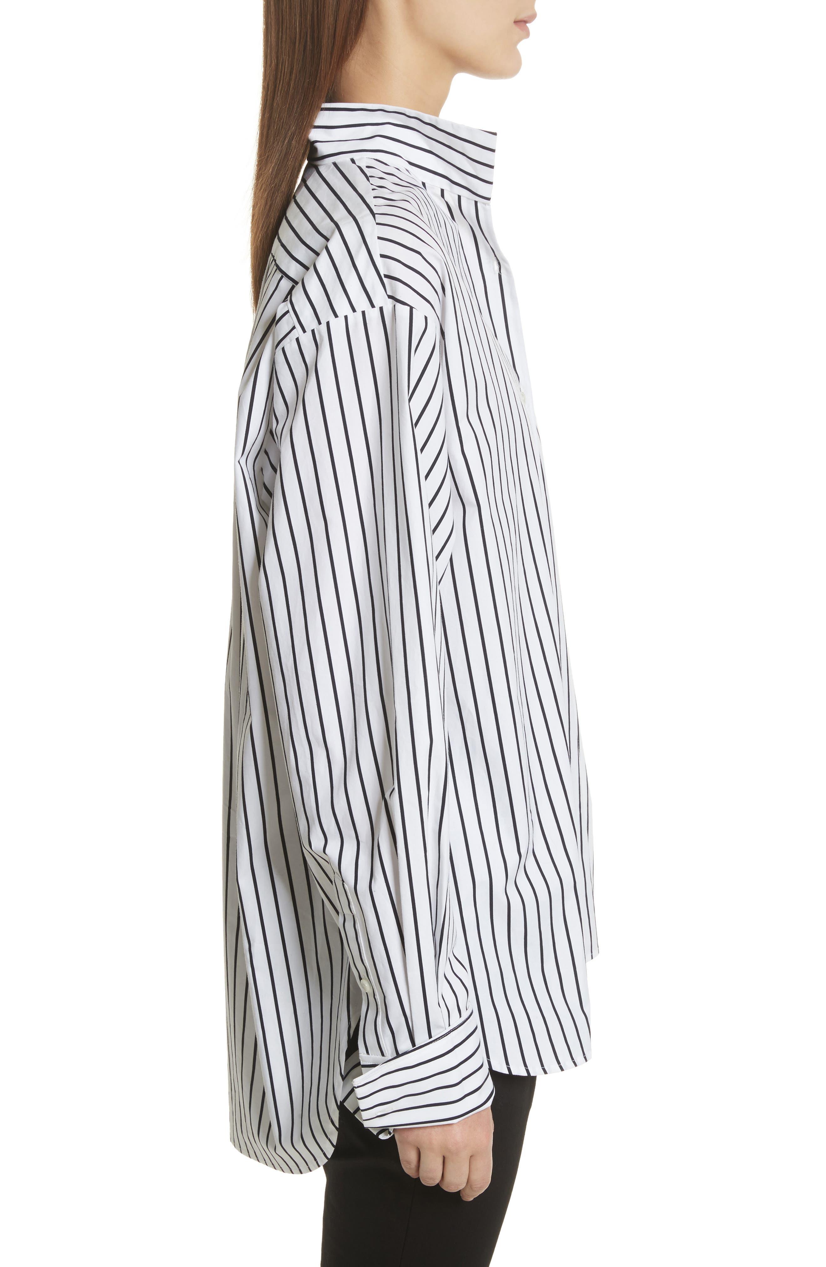 Stripe Cotton Blouse,                             Alternate thumbnail 3, color,                             Navy Multi
