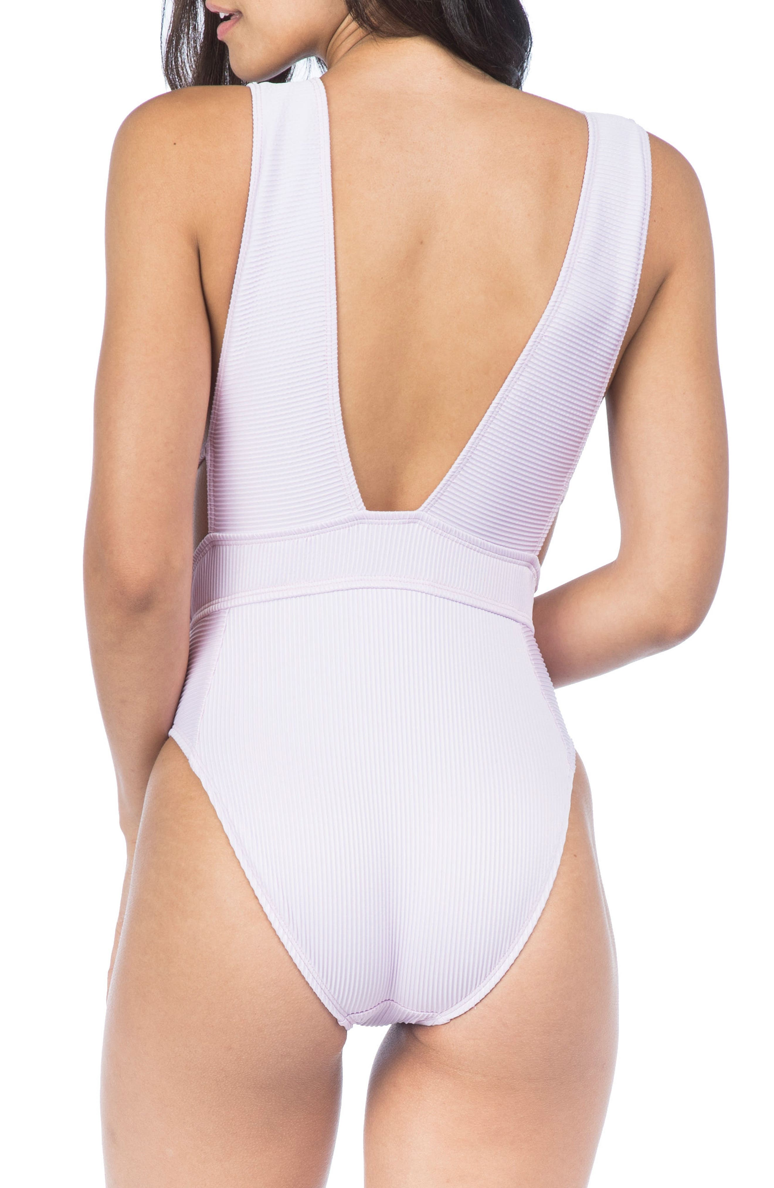 Ribbed Plunge One-Piece Swimsuit,                             Alternate thumbnail 2, color,                             Orchid