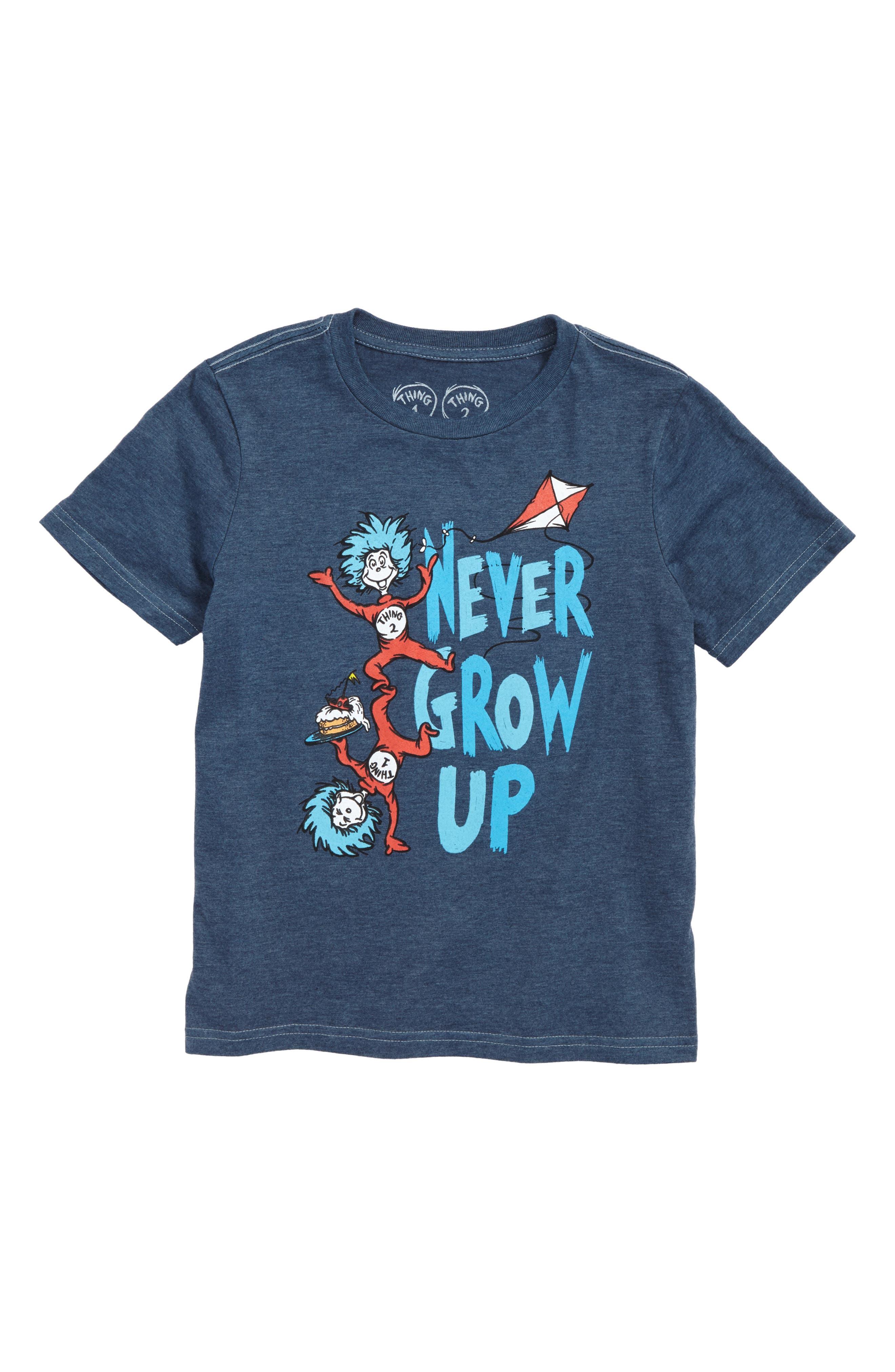 x Dr. Seuss Never Grow Up Graphic T-Shirt,                             Main thumbnail 1, color,                             Blue