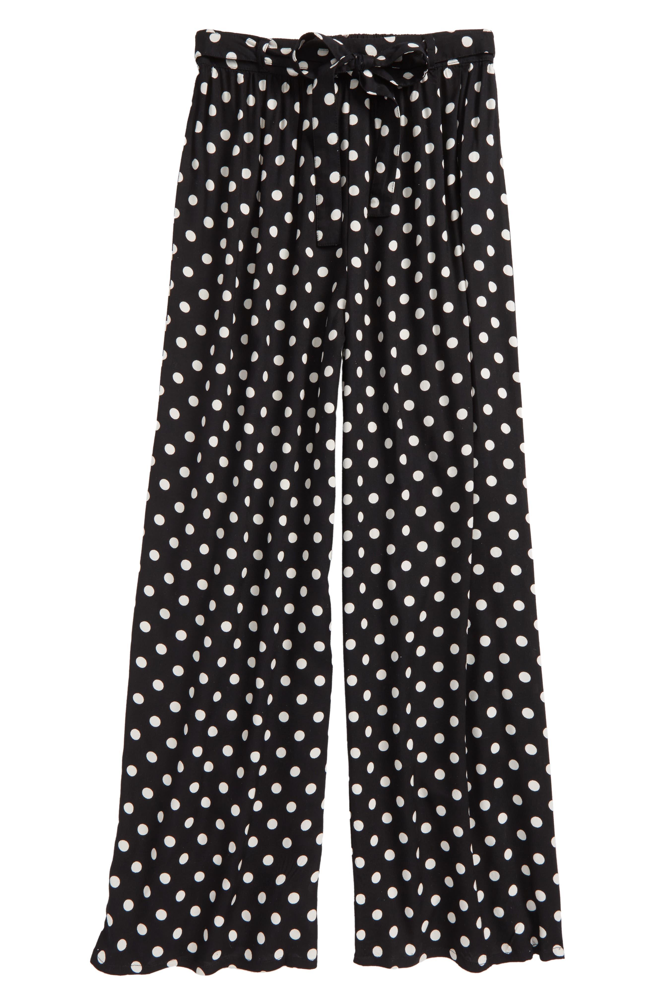 Zoe & Rose Polka Dot Wide Leg Pants,                         Main,                         color, Black/ Ivory