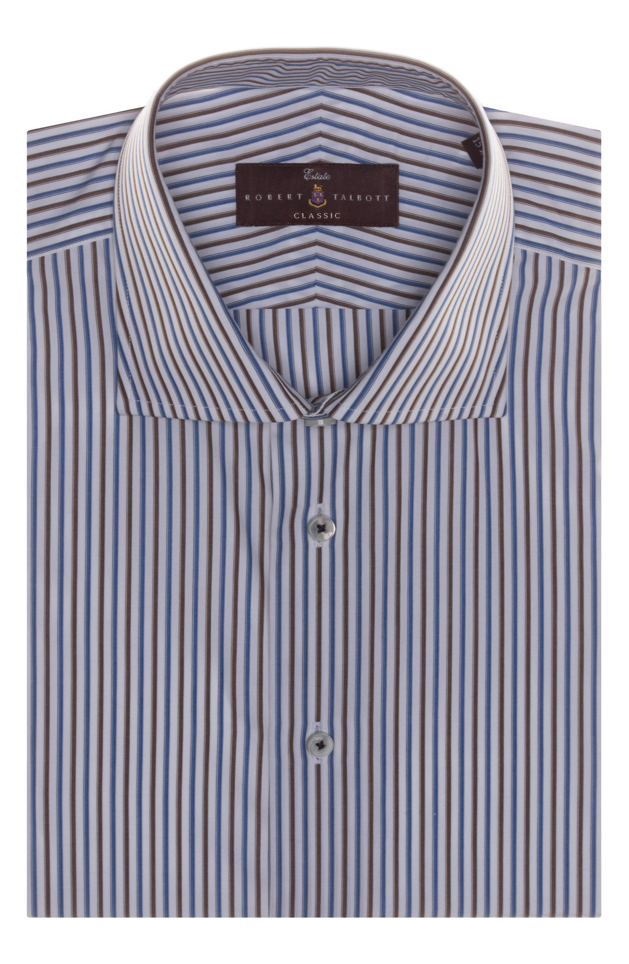 Tailored Fit Stripe Dress Shirt,                             Main thumbnail 1, color,                             Cocoa