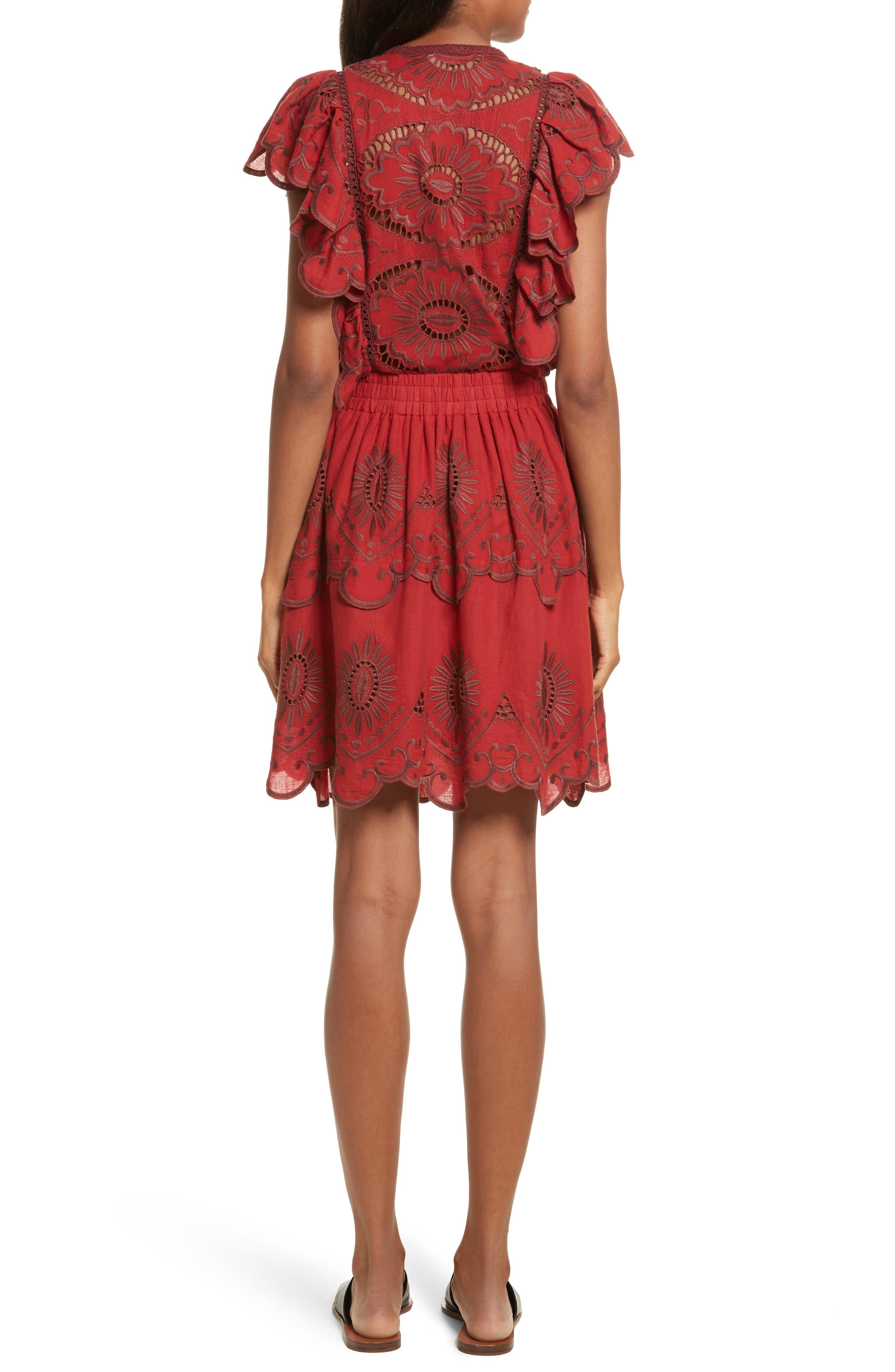Ruffle Cotton Eyelet Dress,                             Alternate thumbnail 2, color,                             Brick/ Dark Brick