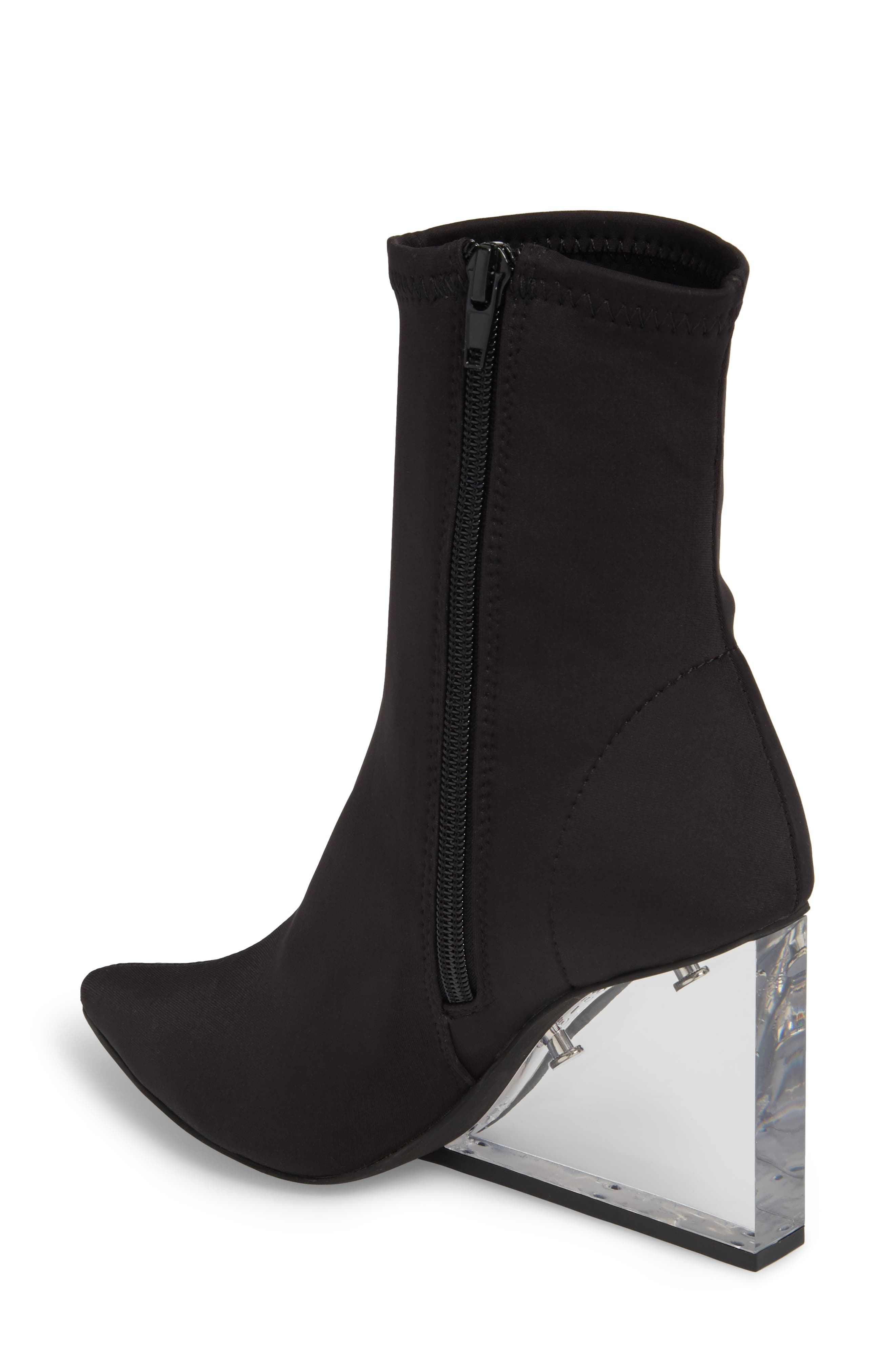 Siren Clear Wedge Sock Bootie,                             Alternate thumbnail 2, color,                             Black Fabric