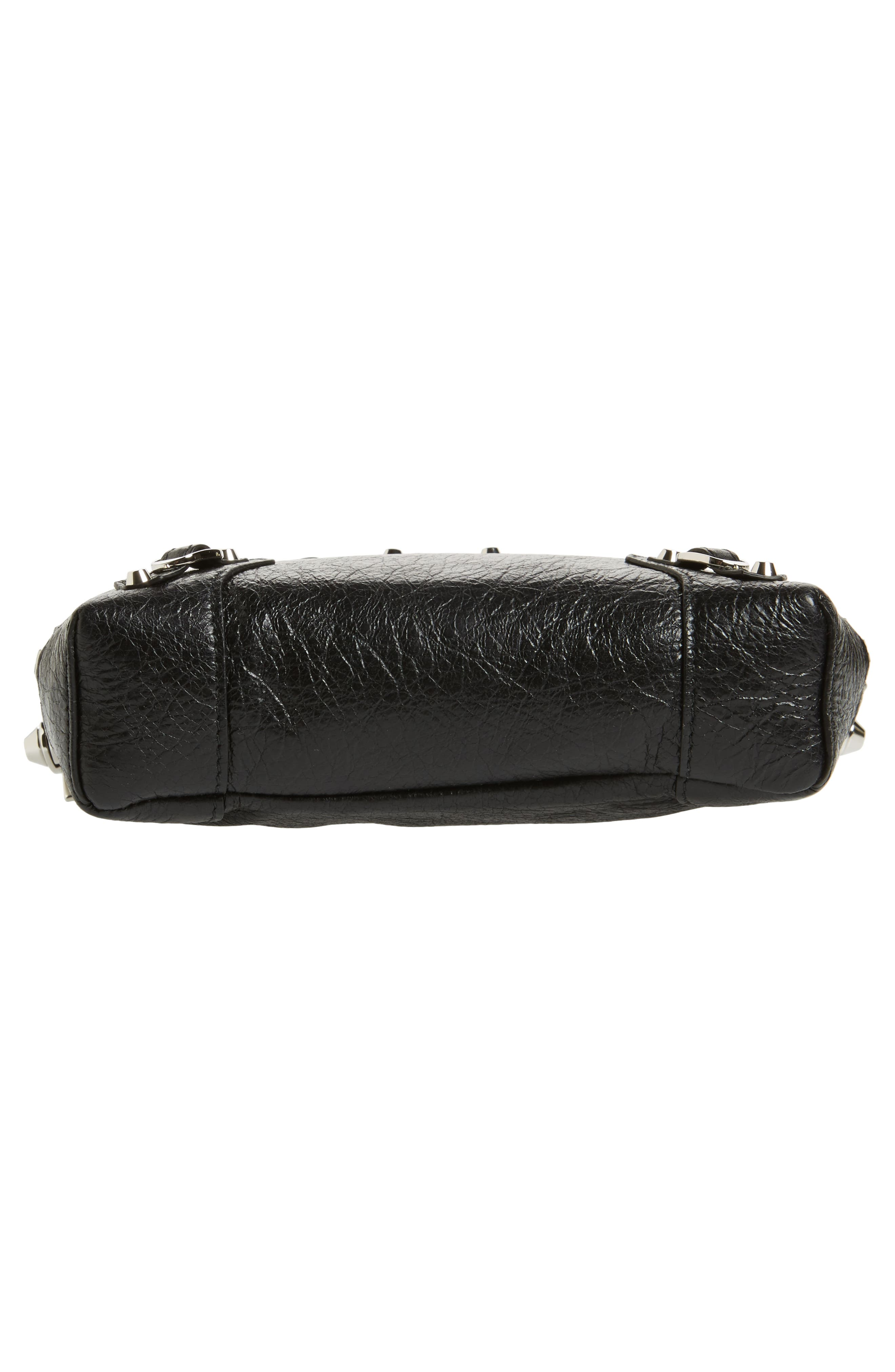 Extra Small Classic Reporter Leather Shoulder Bag,                             Alternate thumbnail 6, color,                             Noir