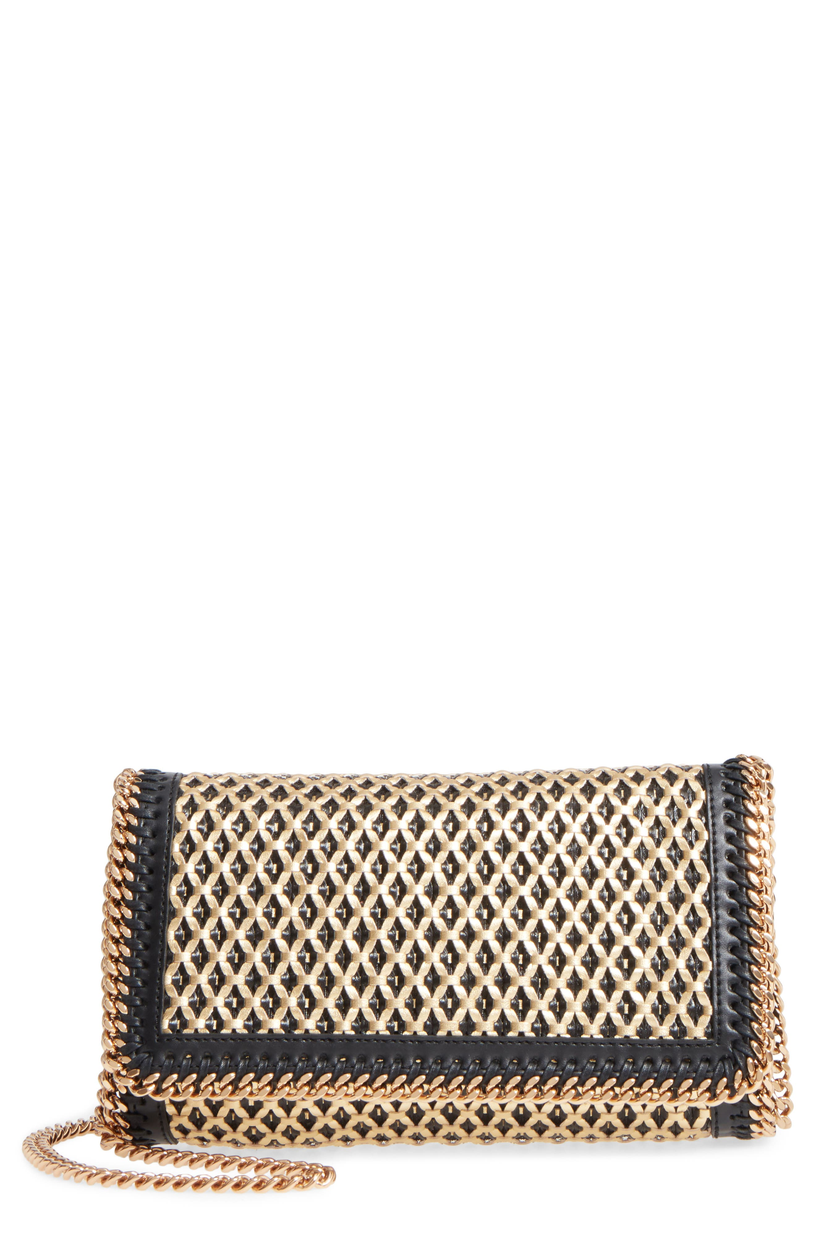 Falabella Woven Faux Leather Clutch,                         Main,                         color, Black