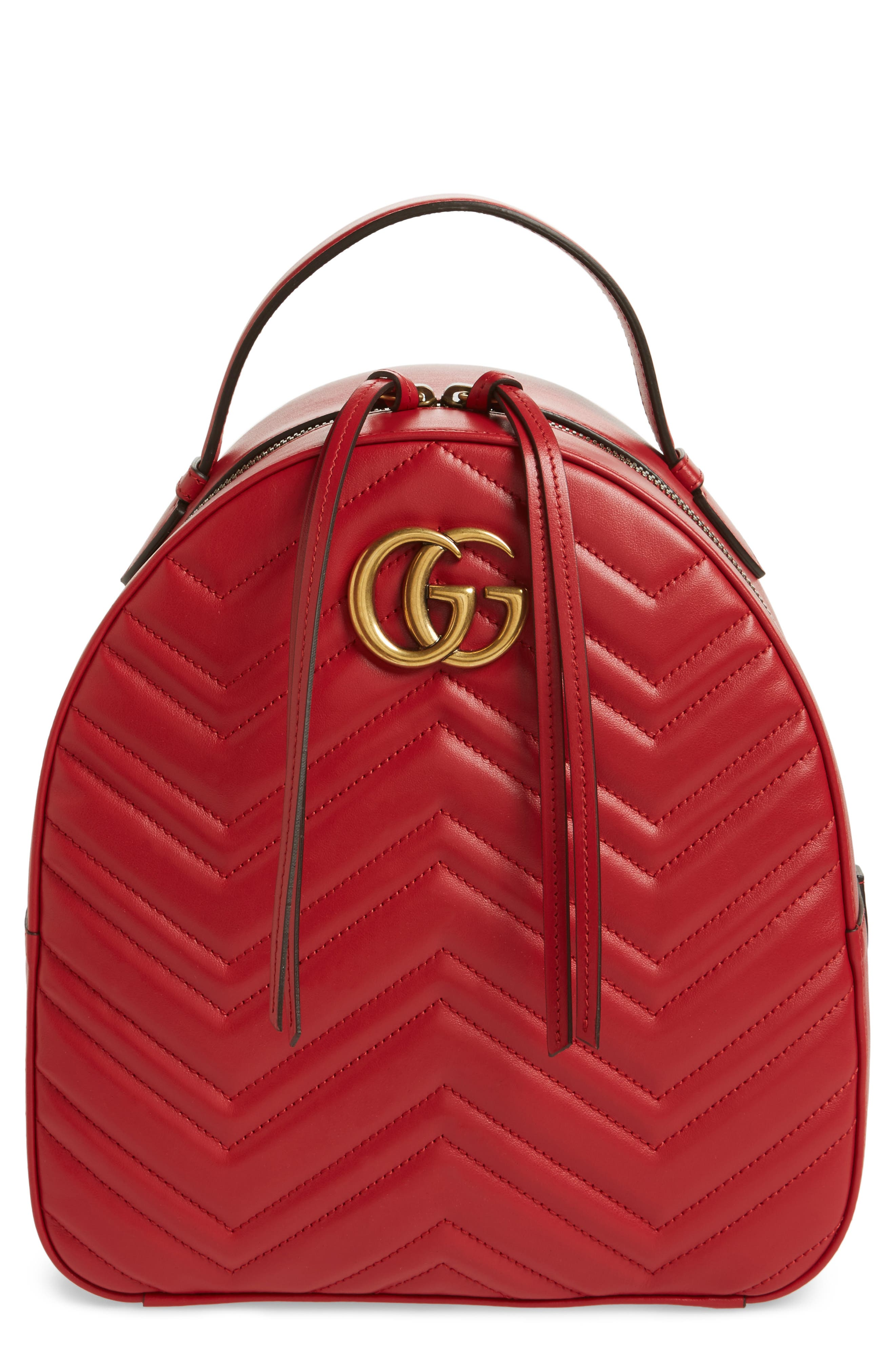GG Marmont Matelassé Quilted Leather Backpack,                             Main thumbnail 1, color,                             Hibiscus Red