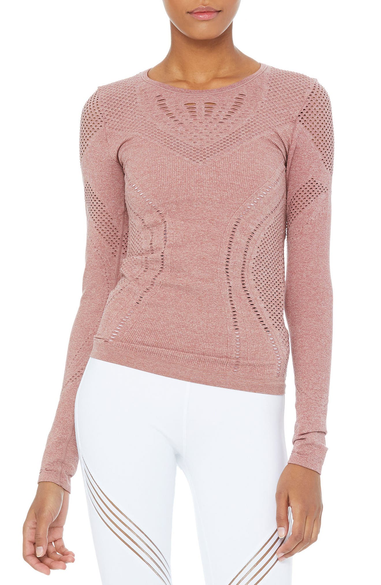 Main Image - Alo Lark Mesh Inset Long Sleeve Yoga Top