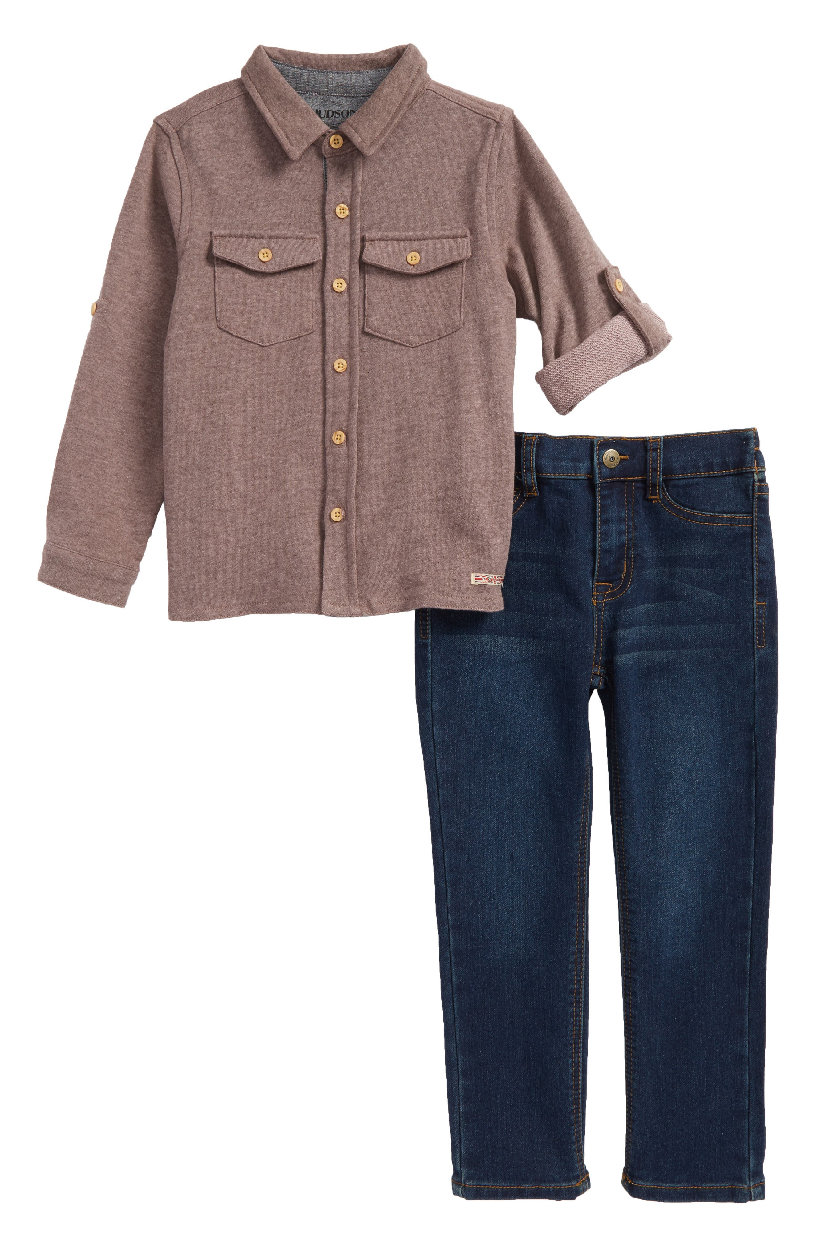 French Terry Shirt & Jeans Set,                         Main,                         color, Ink
