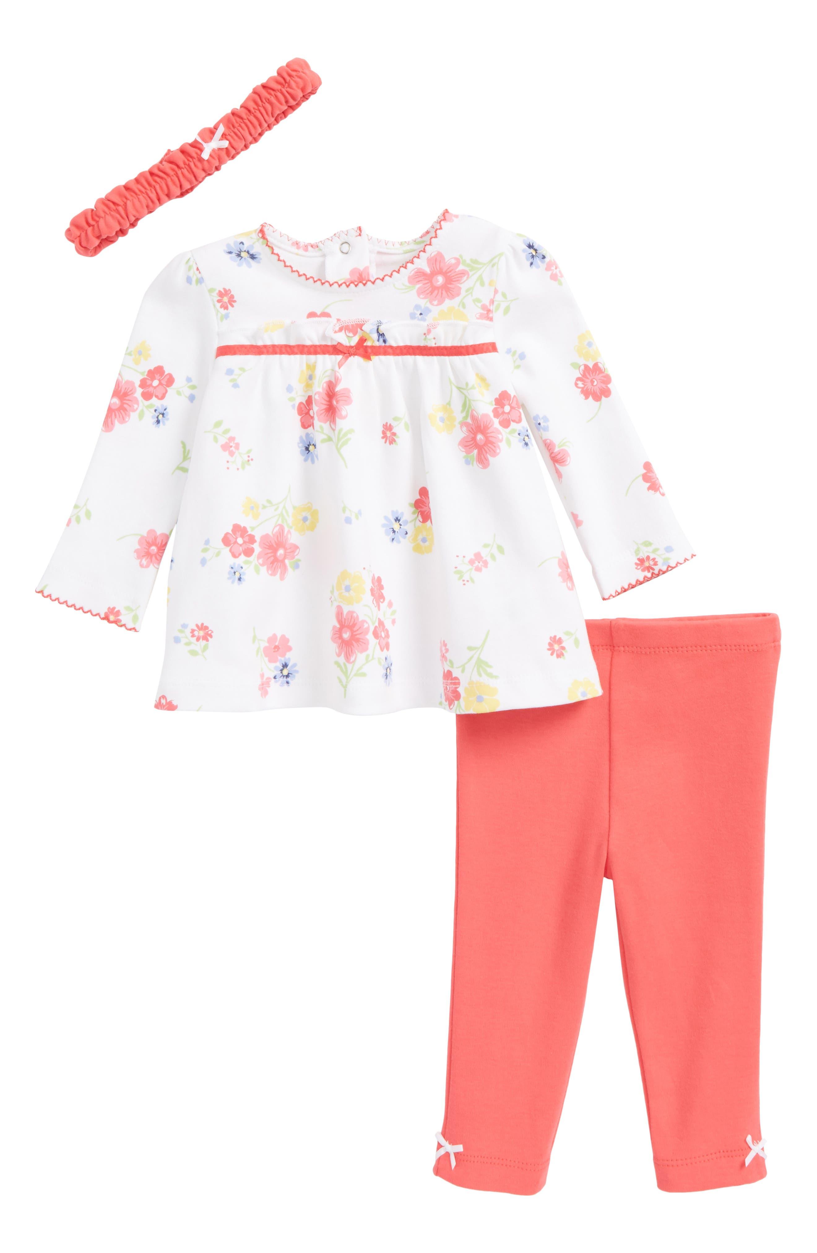 Main Image - Little Me Fun Flower Tunic, Leggings & Headband Set (Baby Girls)