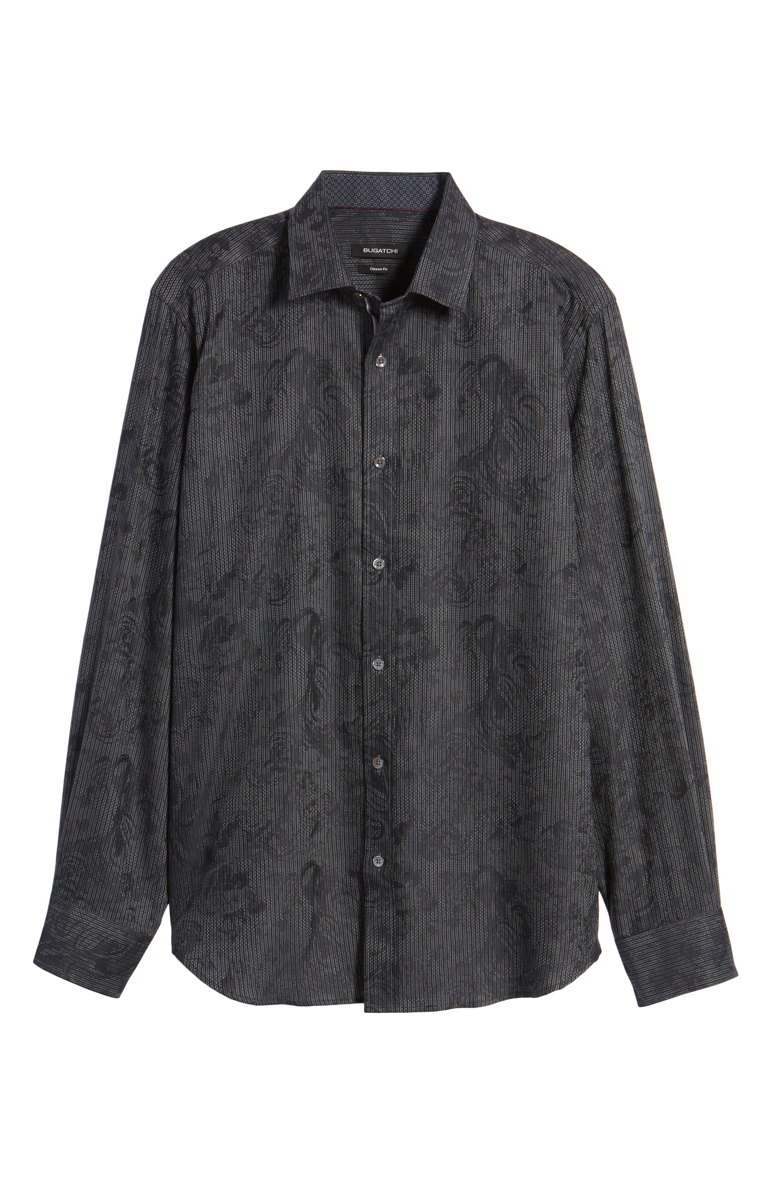 Shaped Fit Print Sport Shirt,                             Alternate thumbnail 6, color,                             Black
