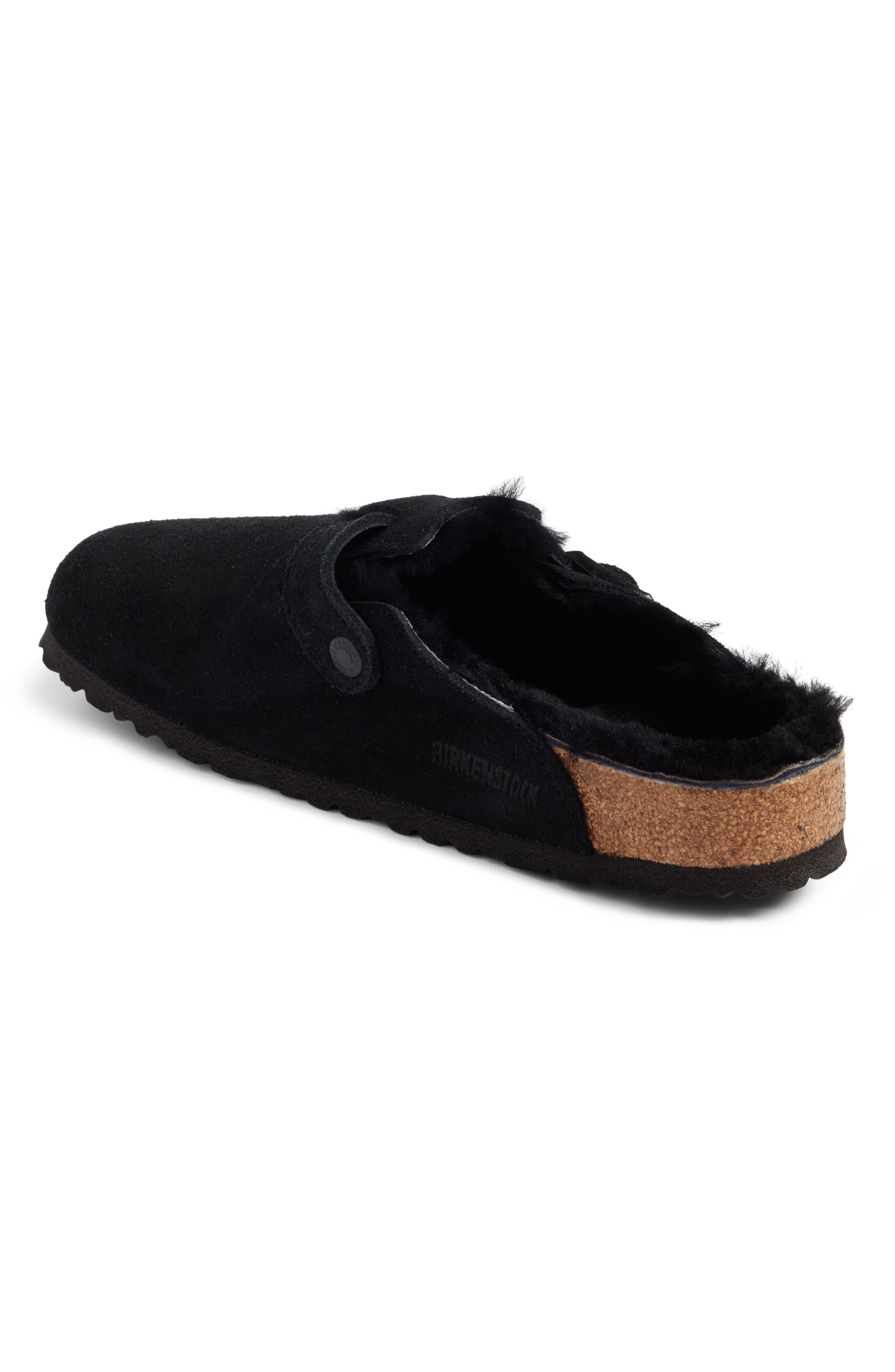Boston Genuine Shearling Lined Clog,                             Alternate thumbnail 2, color,                             Black/ Black