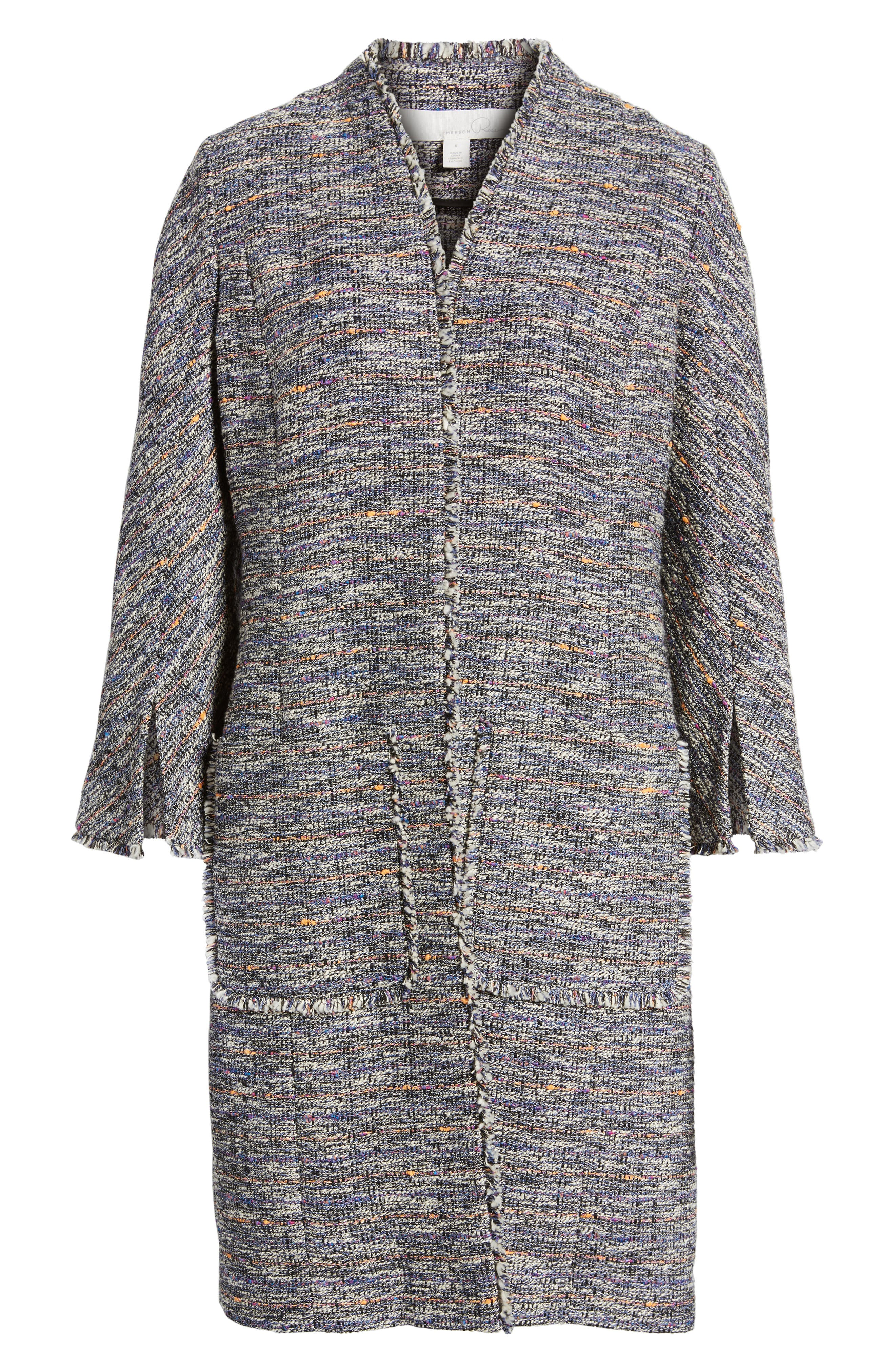 Novelty Tweed Split Sleeve Long Jacket,                             Alternate thumbnail 6, color,                             Black Multi Tweed
