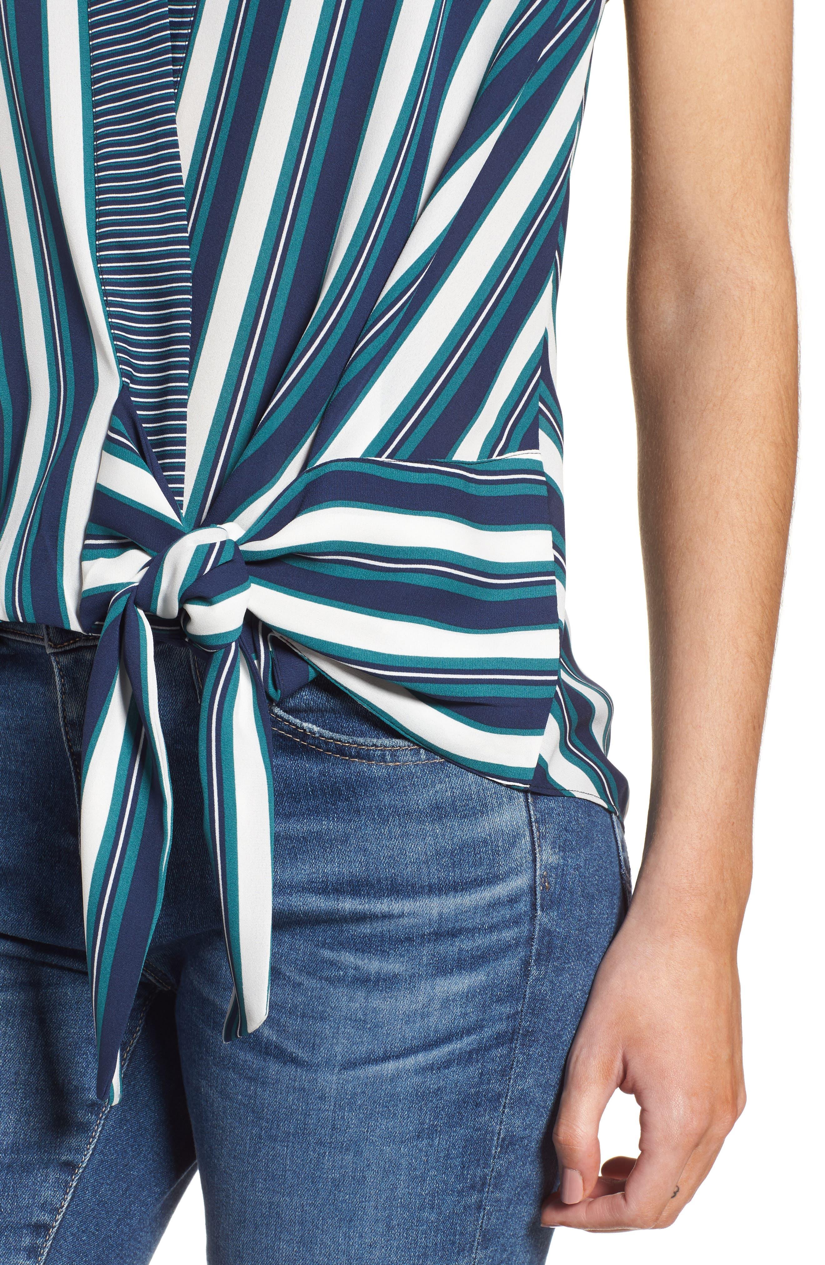 Stripe Wrap Top,                             Alternate thumbnail 4, color,                             Green Berry Marla Stripe