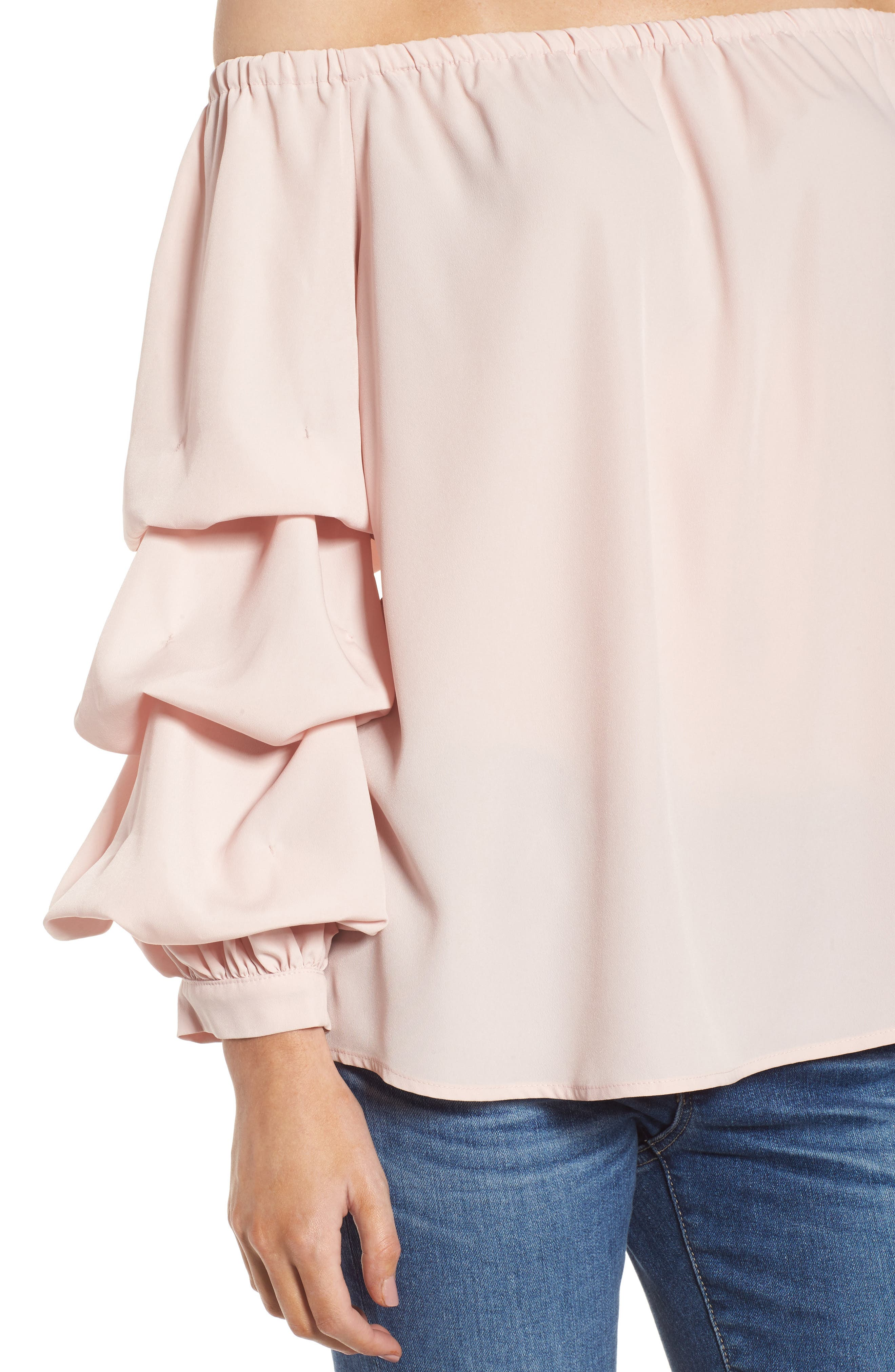 Off the Shoulder Top,                             Alternate thumbnail 4, color,                             Pink Peach