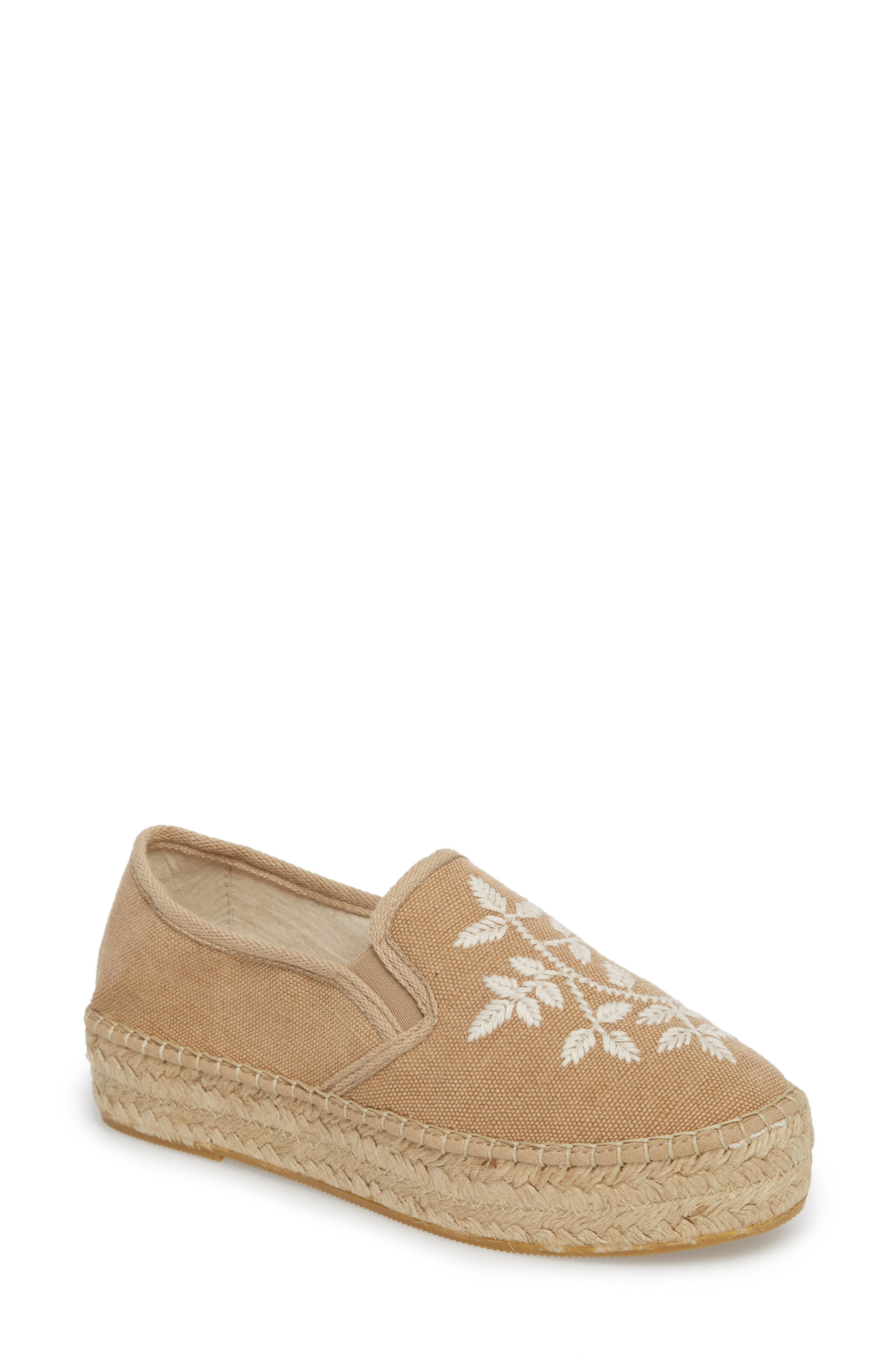 Florence Embroidered Platform Espadrille Sneaker,                             Main thumbnail 1, color,                             Tobacco Fabric