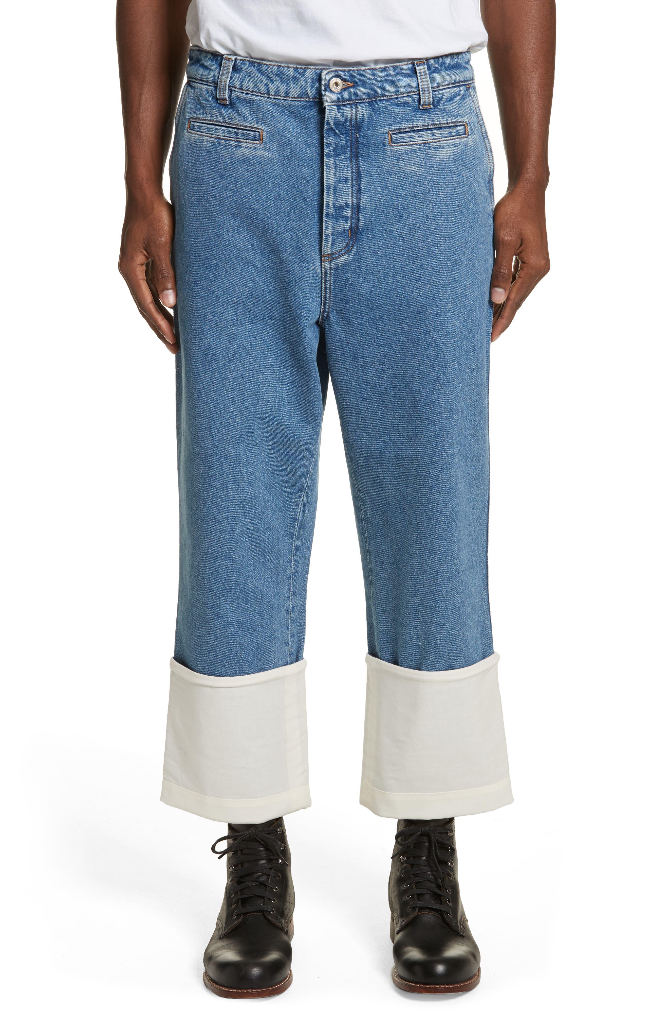 Fisherman Wide Leg Stonewash Jeans,                             Main thumbnail 1, color,                             Blue