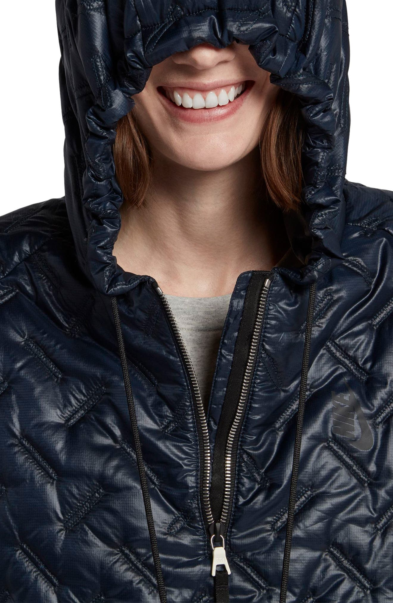 NikeLab Essentials Insulated Short Sleeve Women's Hoodie,                             Alternate thumbnail 8, color,                             Dark Obsidian/ Black