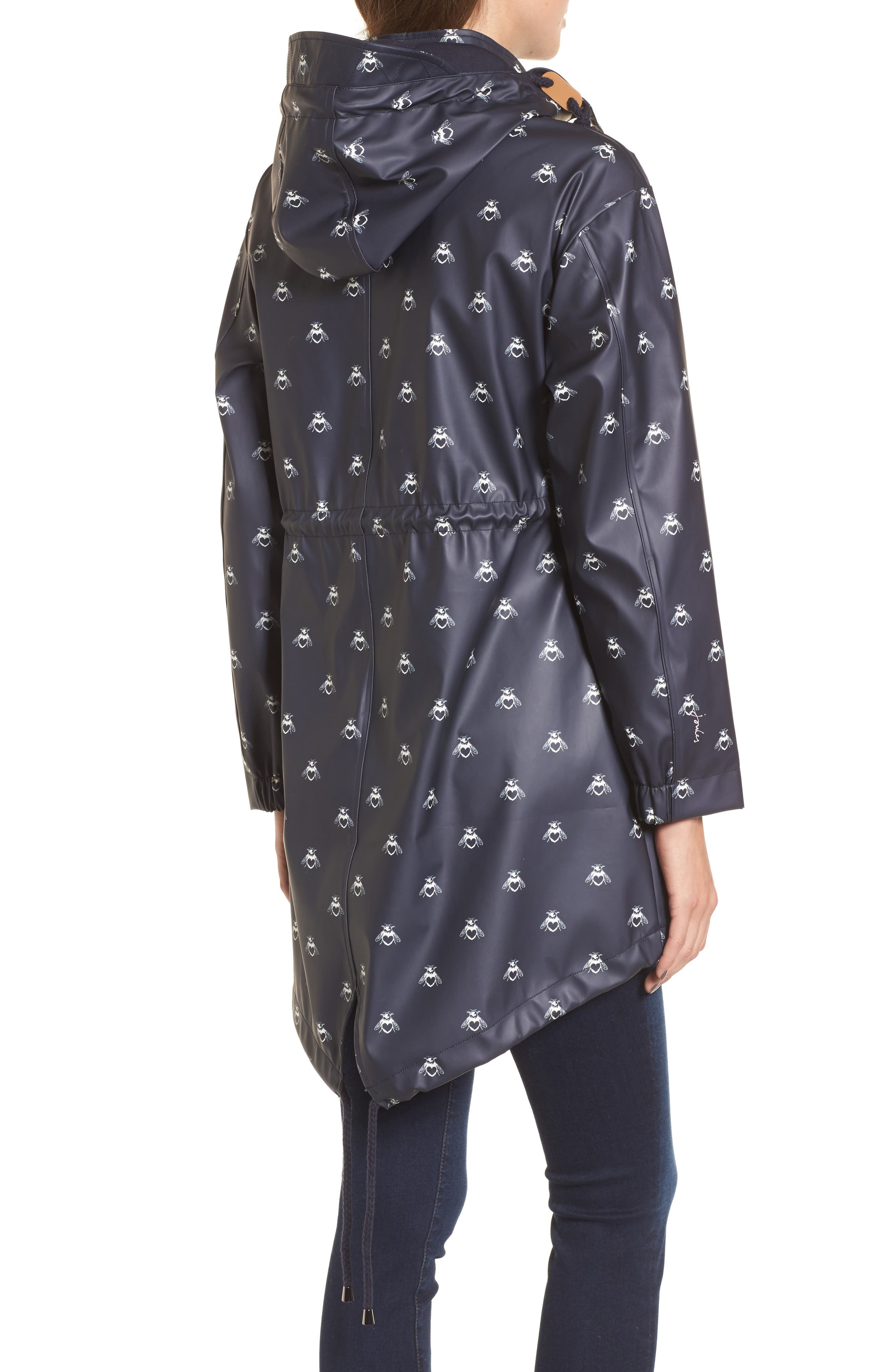 Right As Rain Packable Hooded Raincoat,                             Alternate thumbnail 2, color,                             Navy Love Bees