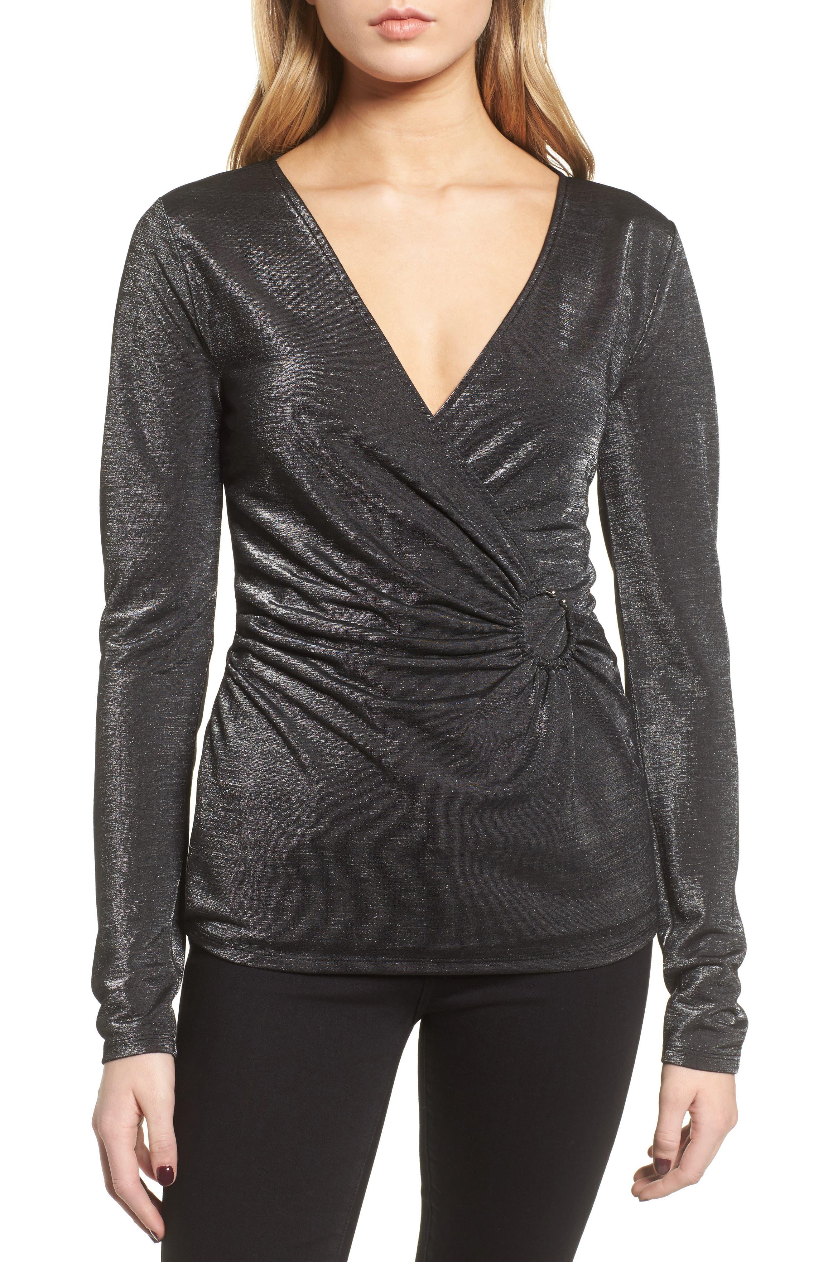 Metallic Faux Wrap Top,                         Main,                         color, Black