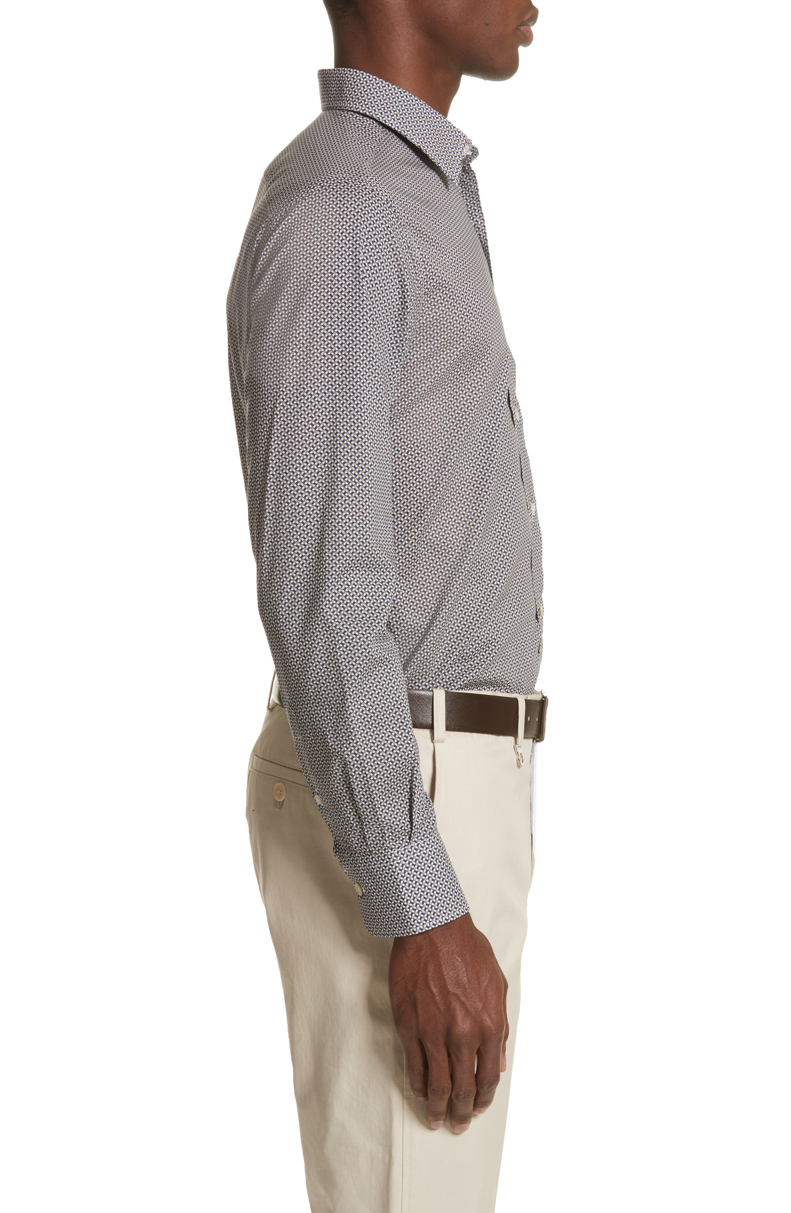 Regular Fit Print Sport Shirt,                             Alternate thumbnail 4, color,                             Dark Beige